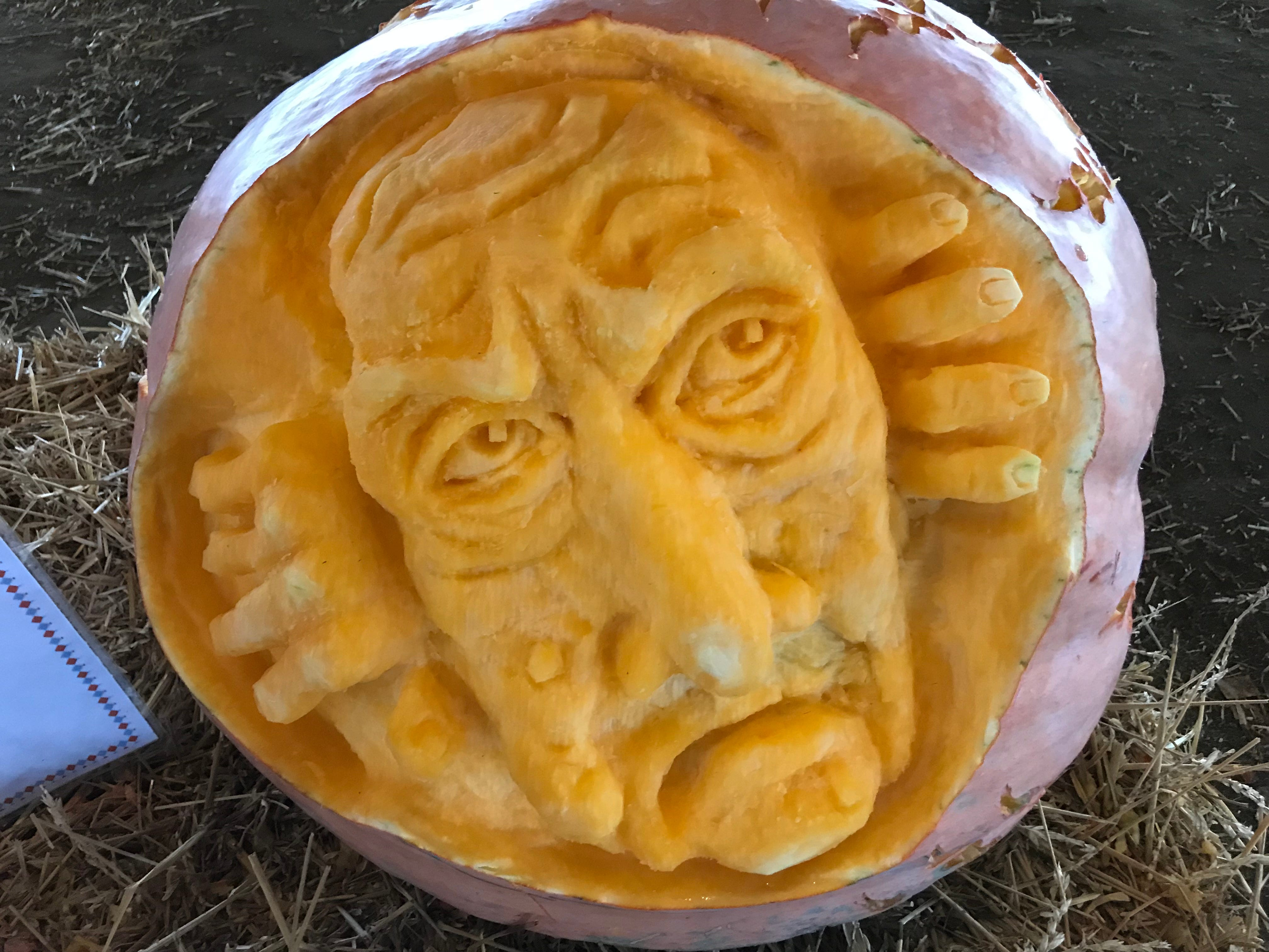 The Pumpkin Hackers created this guy for the first Great Delaware Pumpkin Carve.