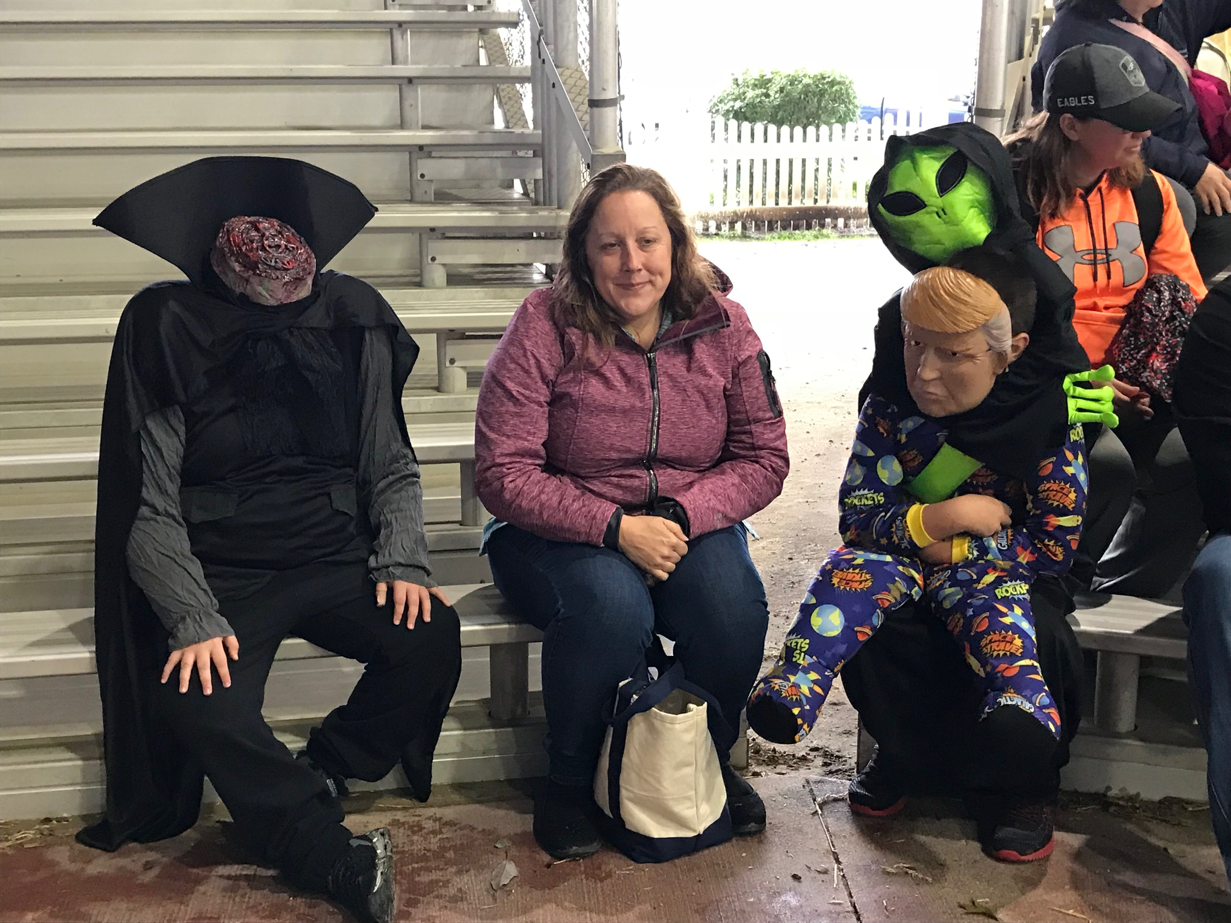Everybody always looked to the right, where Trump appears to be embraced by his alien master, and completely missed the headless horseman to the left at Saturday's first Great Delaware Pumpkin Carve.