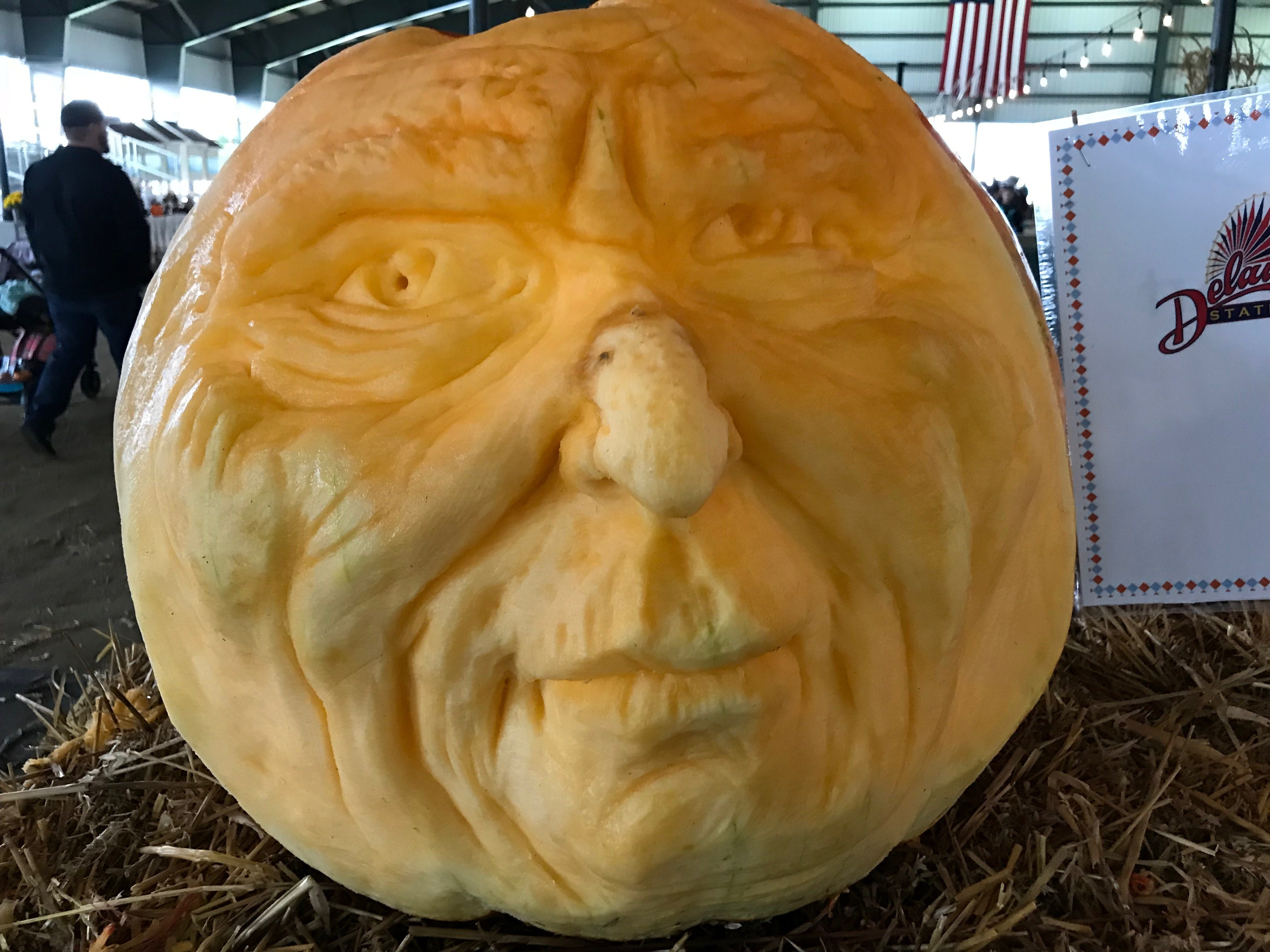 Patrick Cabry, the guest carver at the first Great Delaware Pumpkin Carve, created this gentleman, including adding a bit to his nose.
