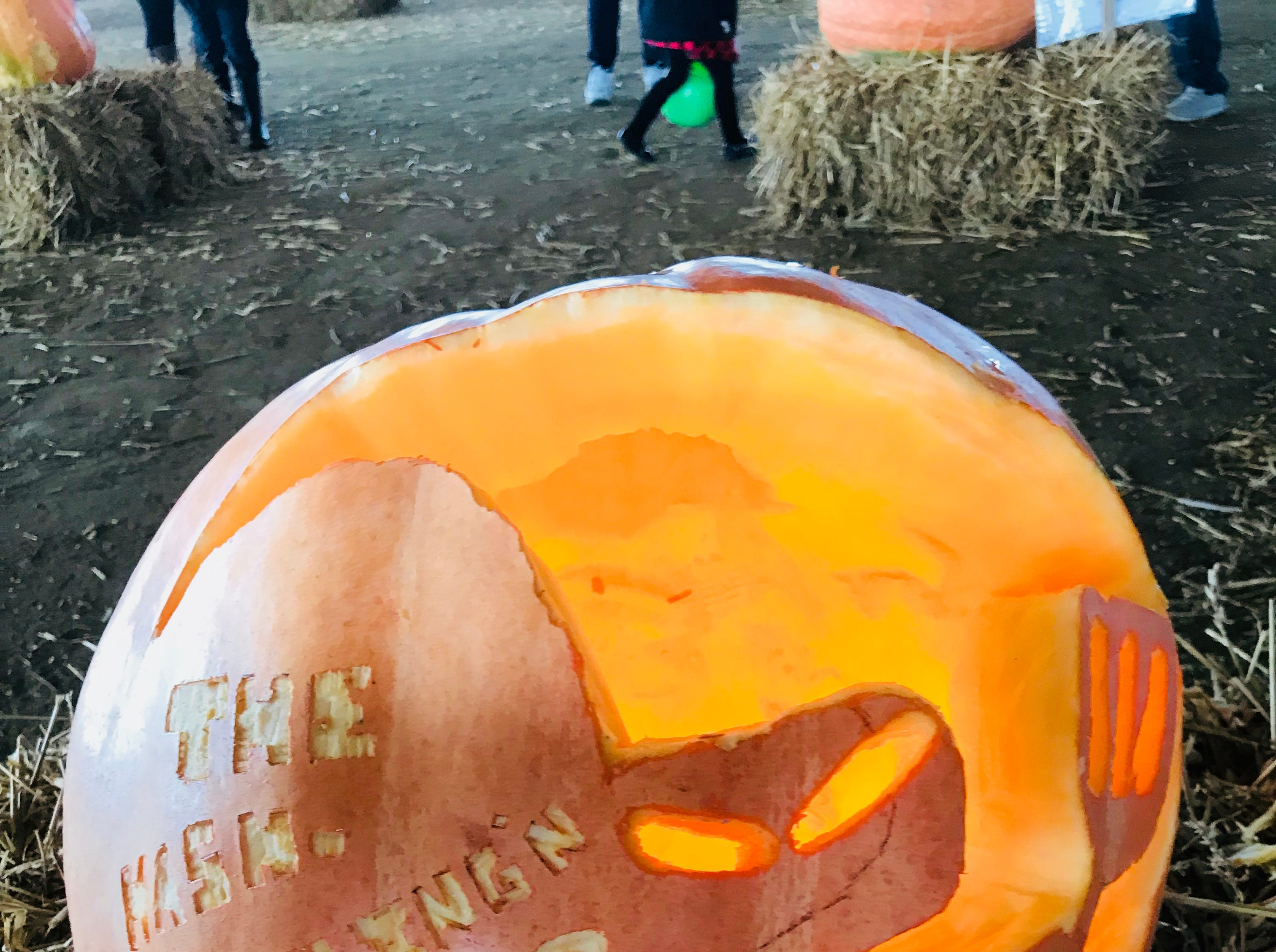 CJ Cain created this pumpkin featuring the villain from an episode of 'Spongebob Squarepants' at the first Great Delaware Pumpkin Carve.