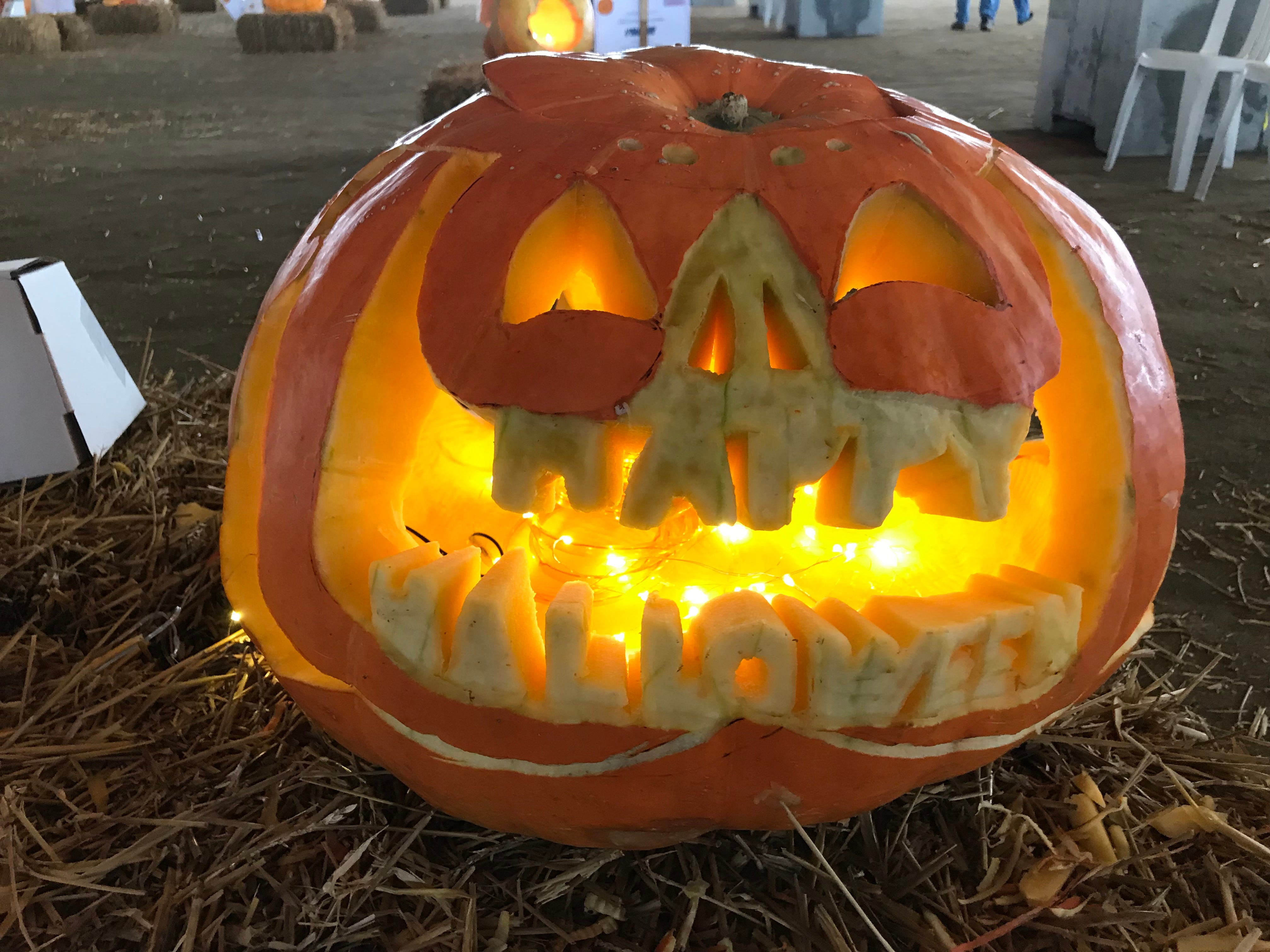 This pumpkin carved by the Chop Square says it all at the first Great Delaware Pumpkin Carve.