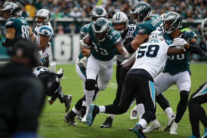 Philadelphia Eagles running back Josh Adams in action during an NFL football game against the Carolina Panthers in Philadelphia, Sunday, Oct. 21, 2018. (AP Photo/Matt Rourke)