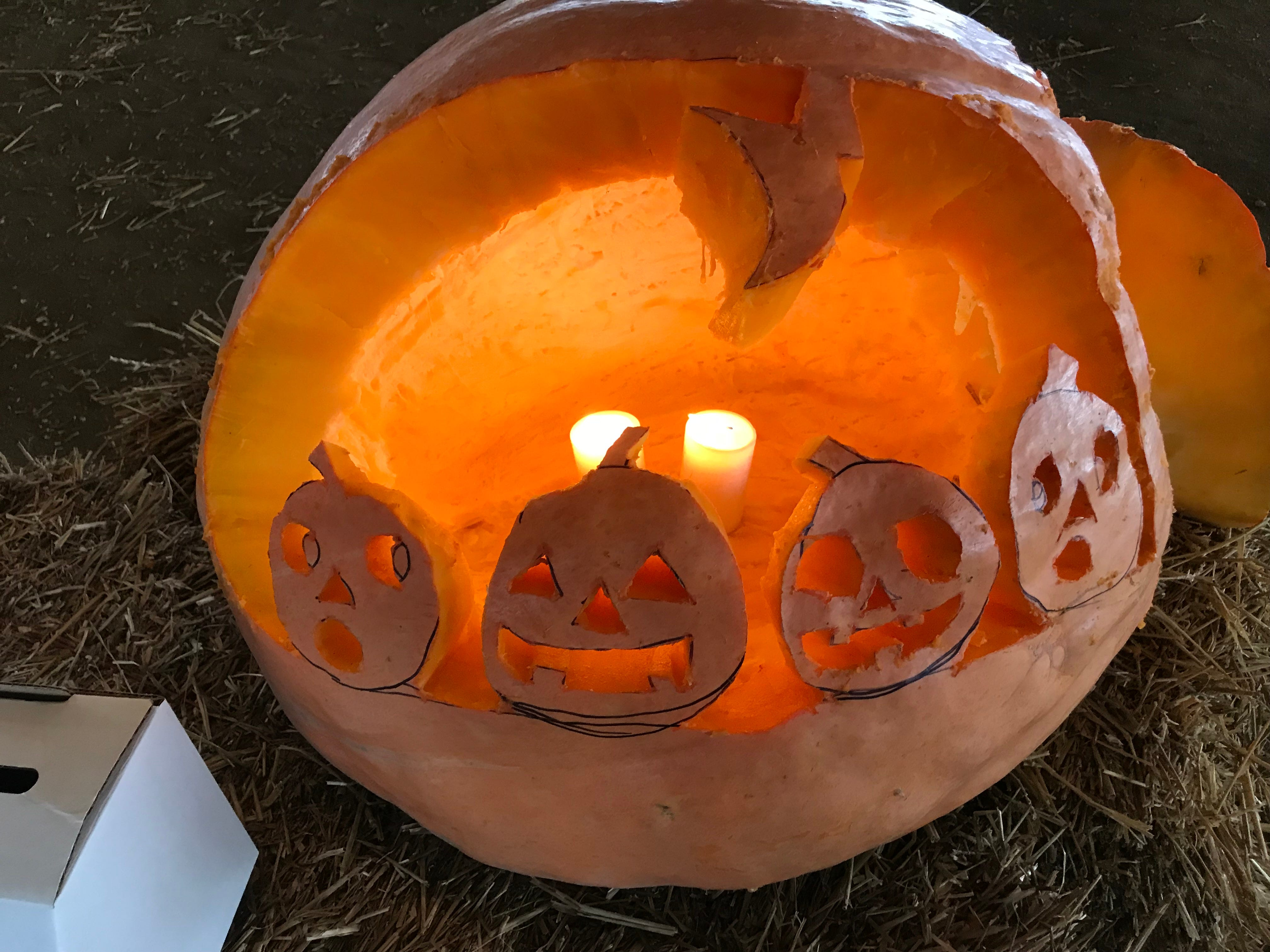 Eagles 97.7 created this pumpkin for the first Great Delaware Pumpkin Carve in Harrington.