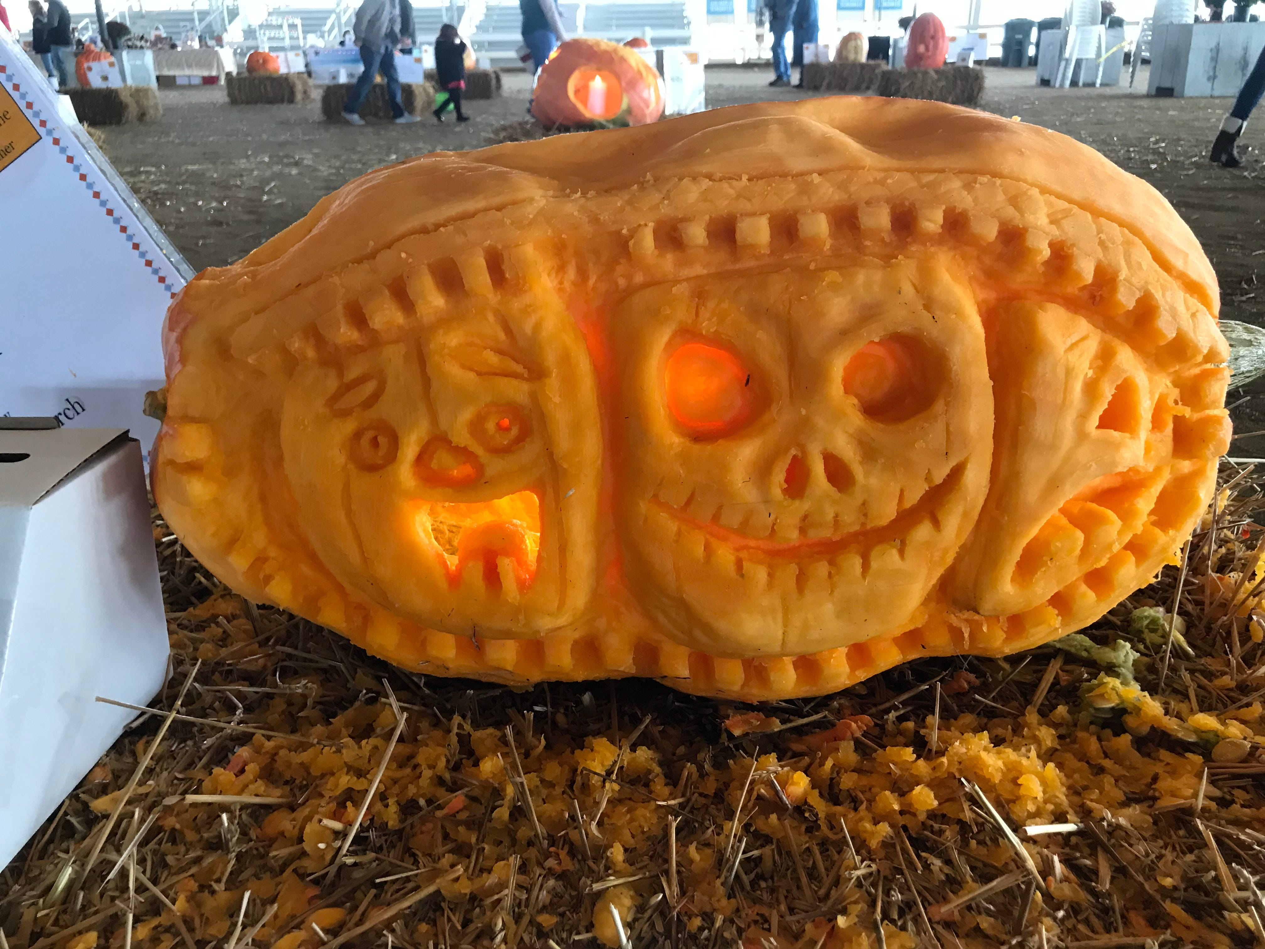 Grace Fellowship Church turned their pumpkin on its side to create this carving for the first Great Delaware Pumpkin Carve.