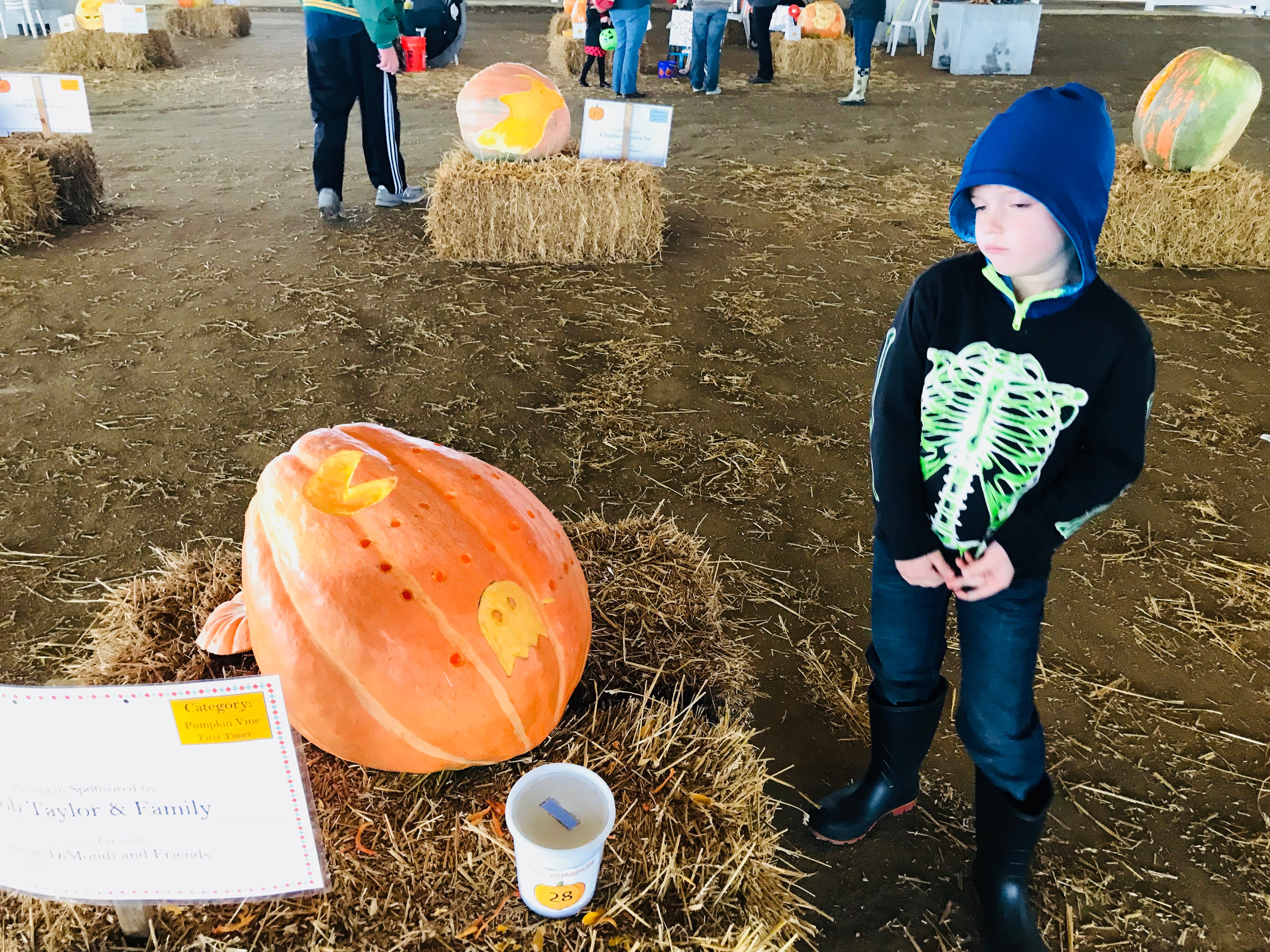 This young visitor just isn't too sure about the Pac-Man pumpkin at the first Great Delaware Pumpkin Carve.