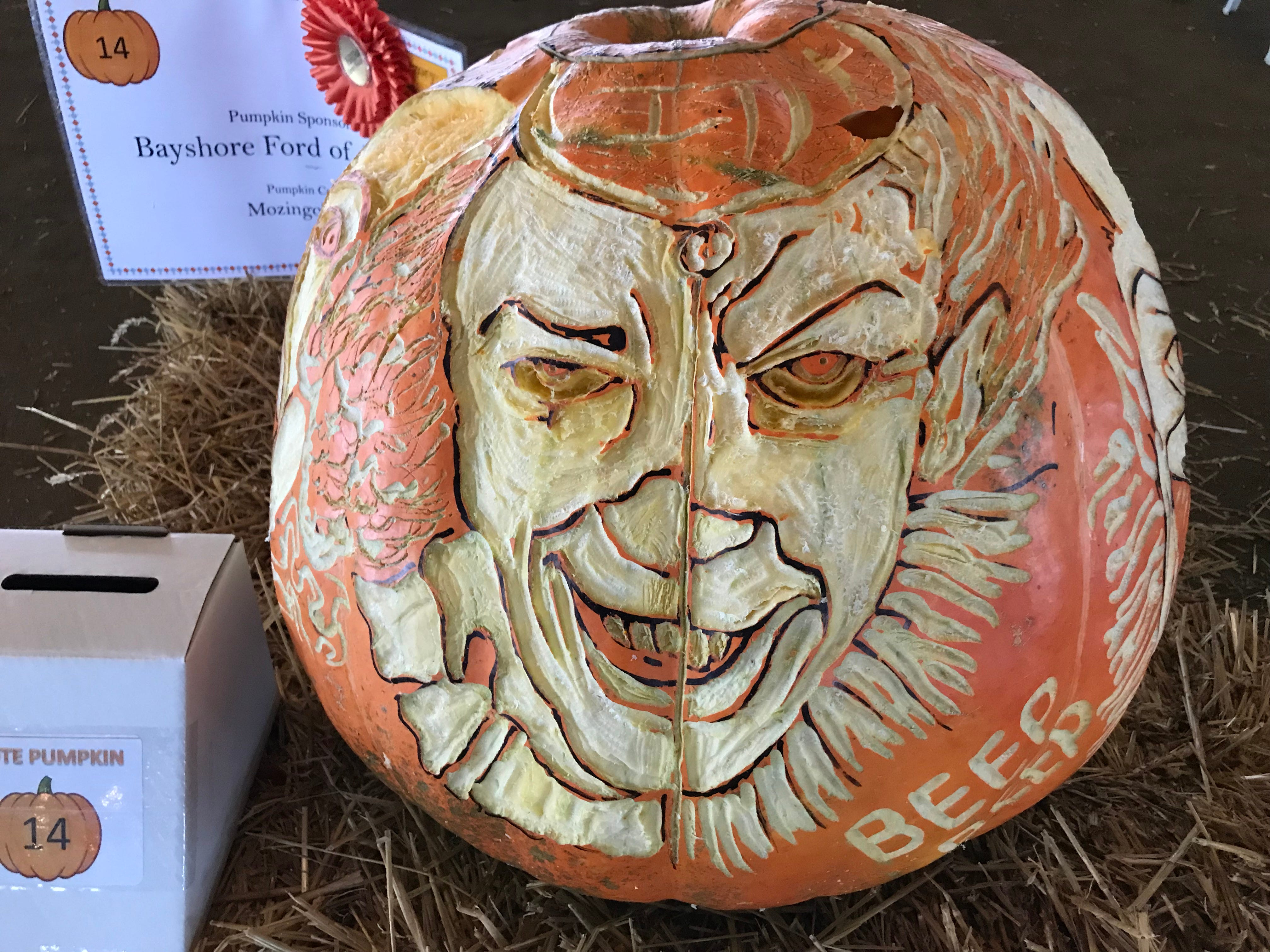 The creep clown from the movie 'It' created by Mozingo's Carver was among those at the inaugural Great Delaware Pumpkin Carve over the weekend.