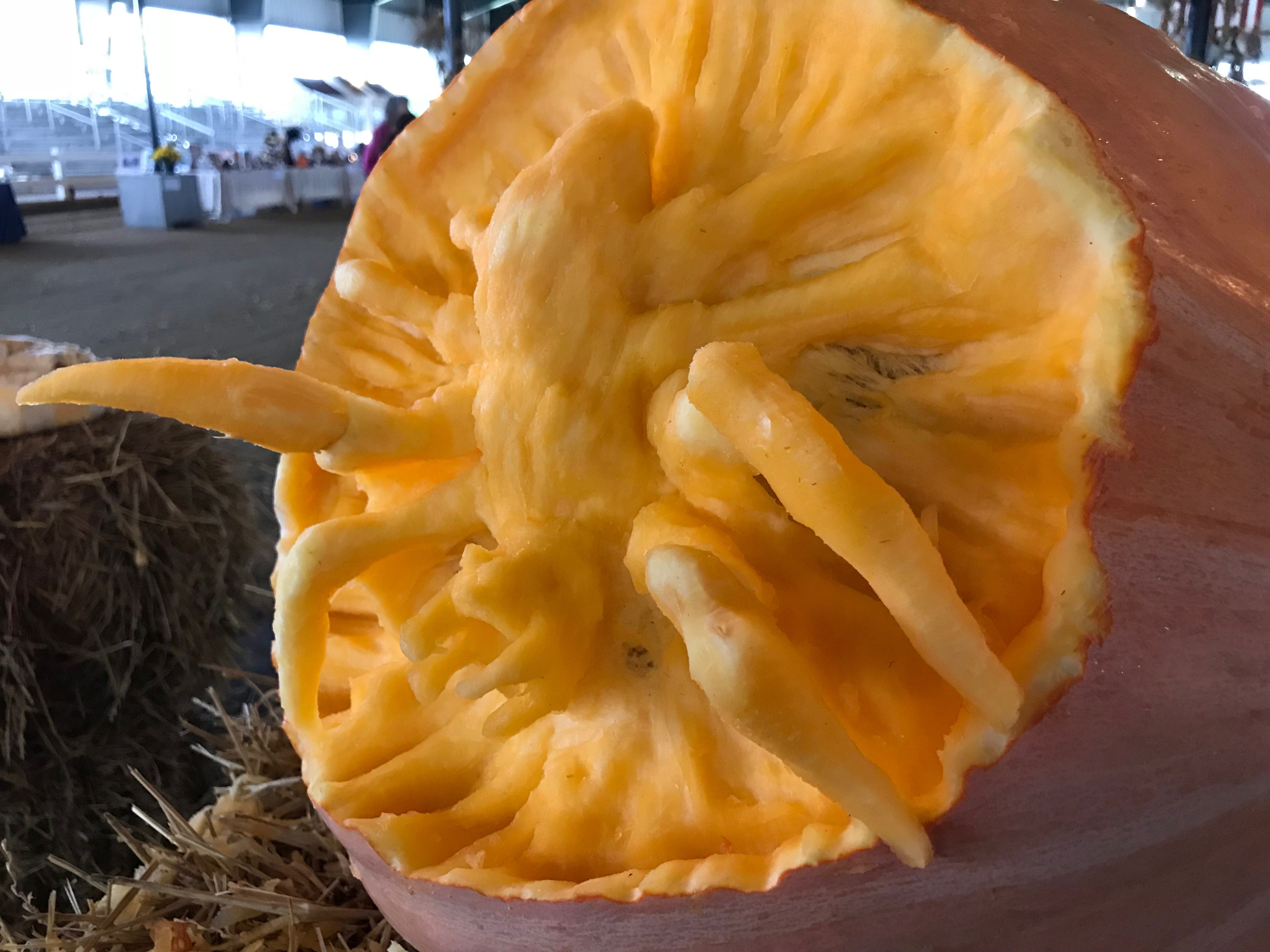 A close-up shows how the 3D pumpkin carved by The DE Stars reaches out of of the carving at the Great Delaware Pumpkin Carve Oct. 26-27 at the Delaware State Fair fairgrounds.