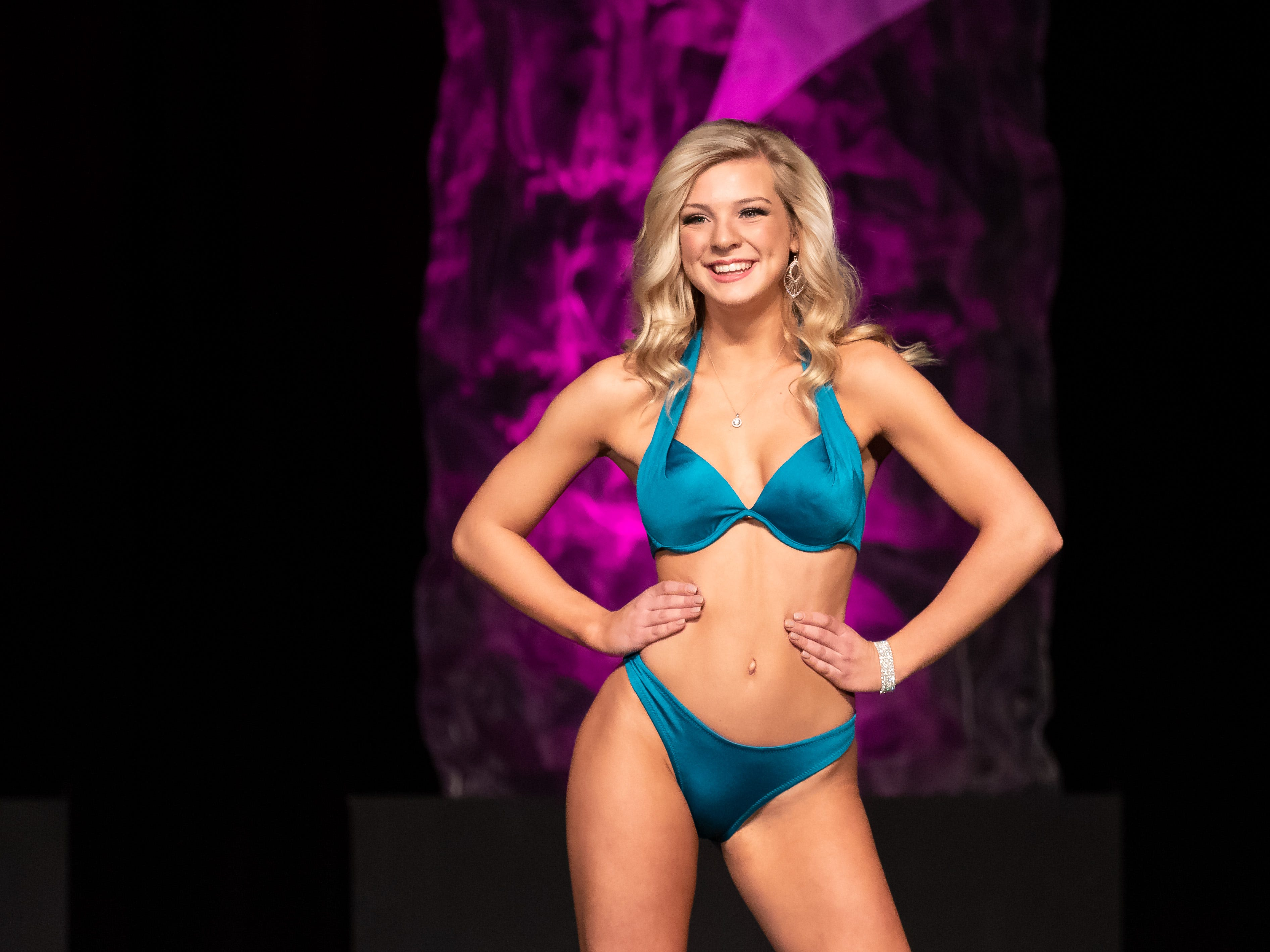 Casey Abbrederis competes in the Lifestyle and Fitness in a Swimsuit competition during the 2019 Miss Wisconsin Rapids Area Scholarship Pageant on Saturday, Oct. 27, 2018, at the Performing Arts Center of Wisconsin Rapids.