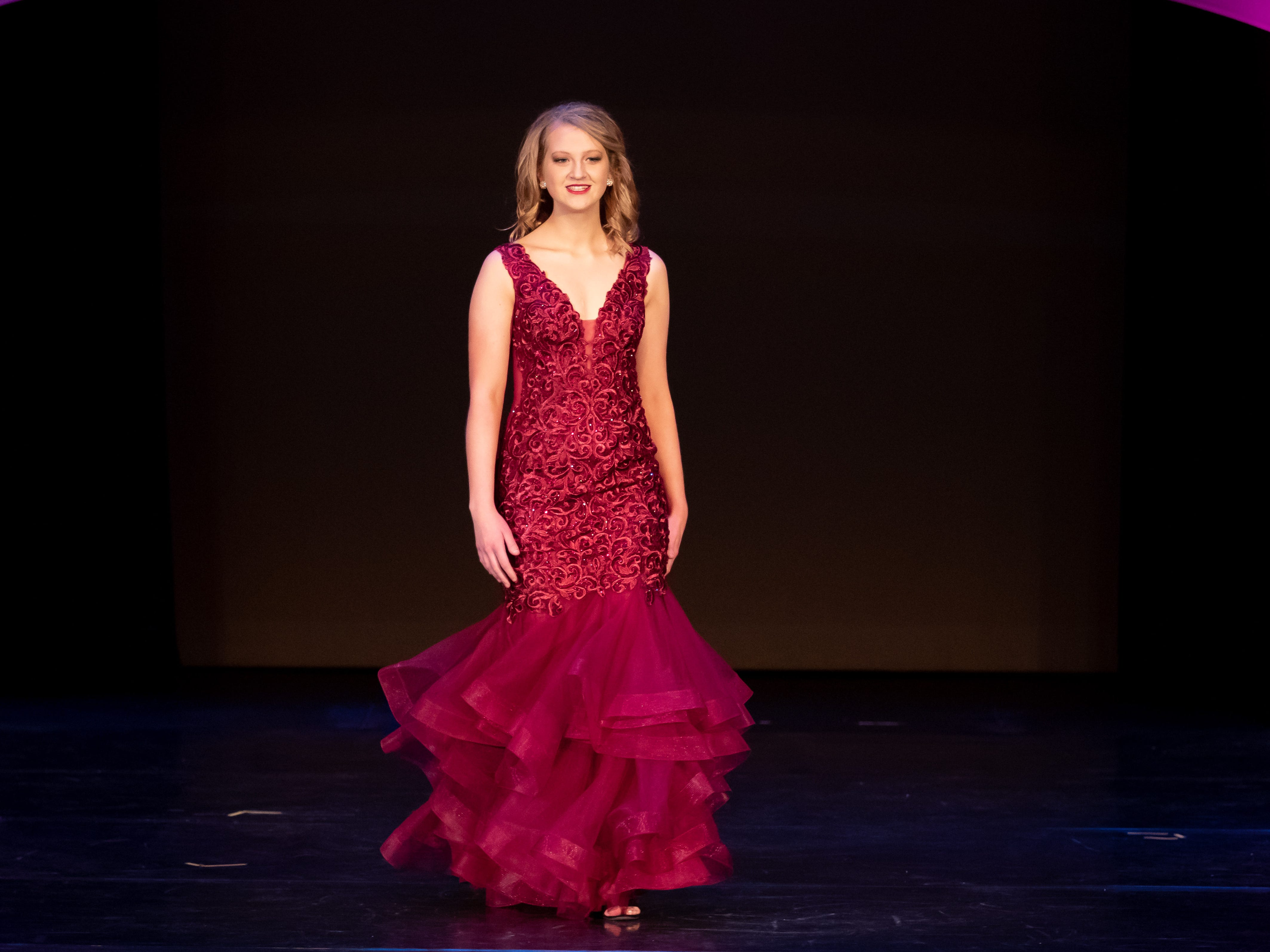 Kate Czarny competes in the Evening Wear competition during the 2019 Miss Wisconsin Rapids Area Scholarship Pageant on Saturday, Oct. 27, 2018, at the Performing Arts Center of Wisconsin Rapids.
