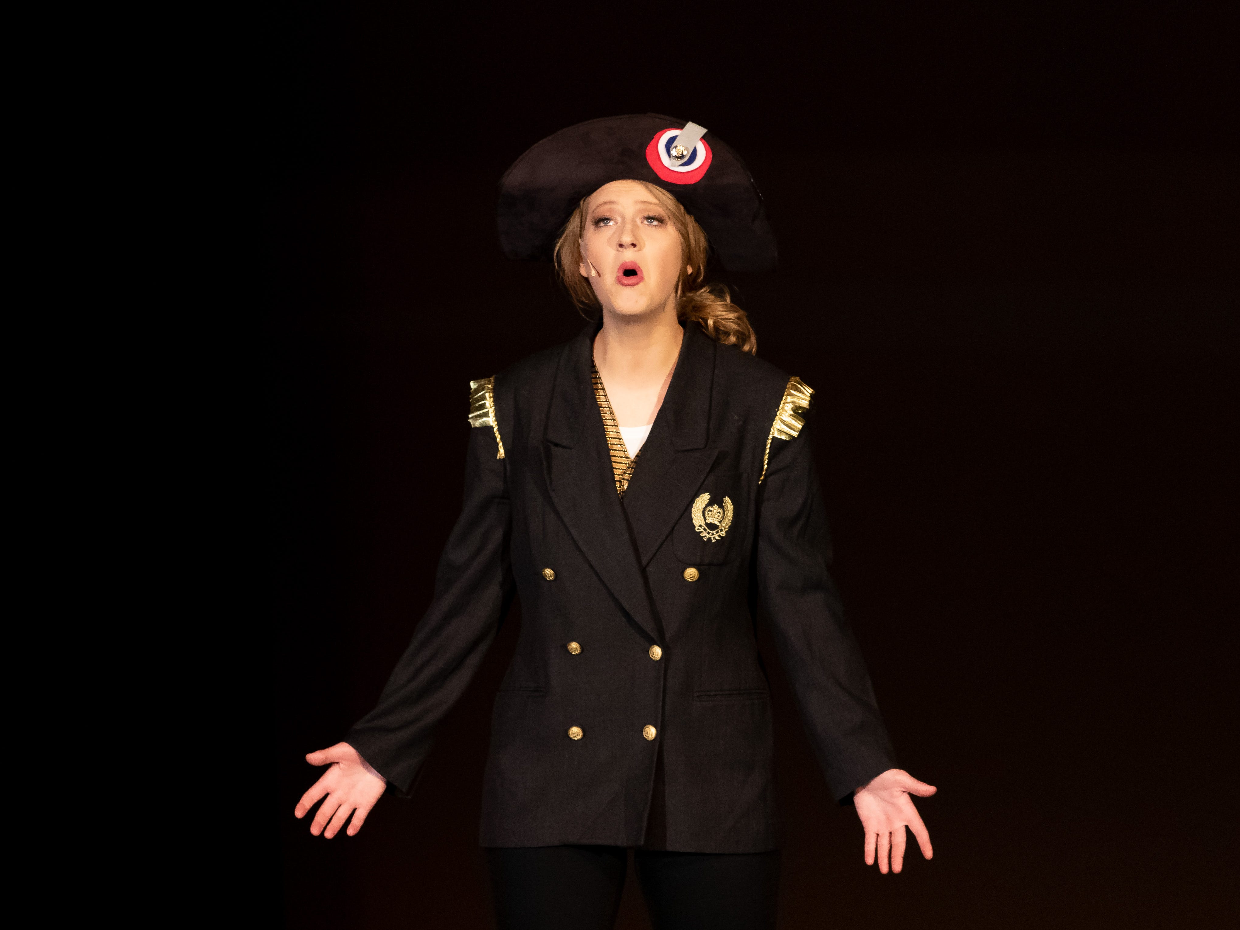 "Kate Czarny performs a French monologue, ""Le Suicide de Javert,"" in the Talent competition during the 2019 Miss Wisconsin Rapids Area Scholarship Pageant on Saturday, Oct. 27, 2018, at the Performing Arts Center of Wisconsin Rapids."