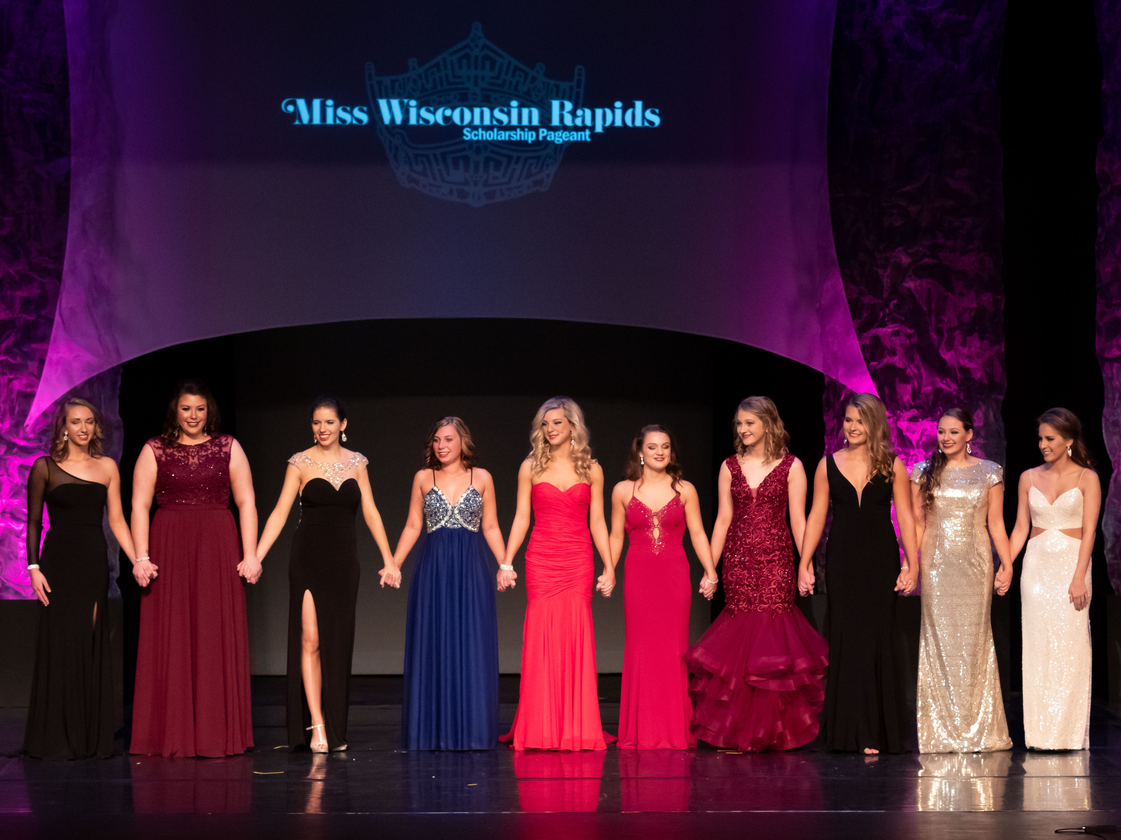 Contestants in the 2019 Miss Wisconsin Rapids Area Scholarship Pageant await the final results on Saturday, Oct. 27, 2018, at the Performing Arts Center of Wisconsin Rapids.