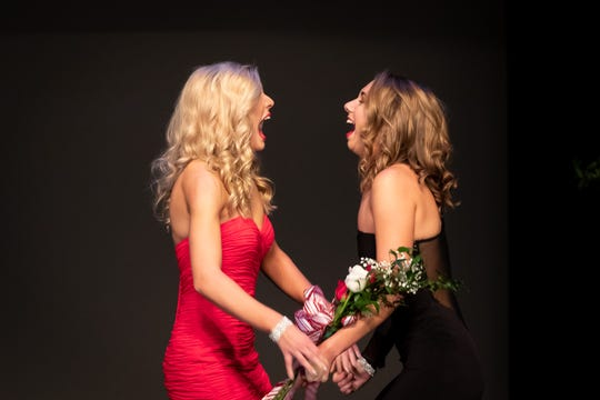 Casey Abbrederis, left, and Danielle Moon react after learning Moon was named Miss Wisconsin Rapids Area 2019 on Saturday, Oct. 27, 2018, at the Performing Arts Center of Wisconsin Rapids. Abbrederis was the runner-up.