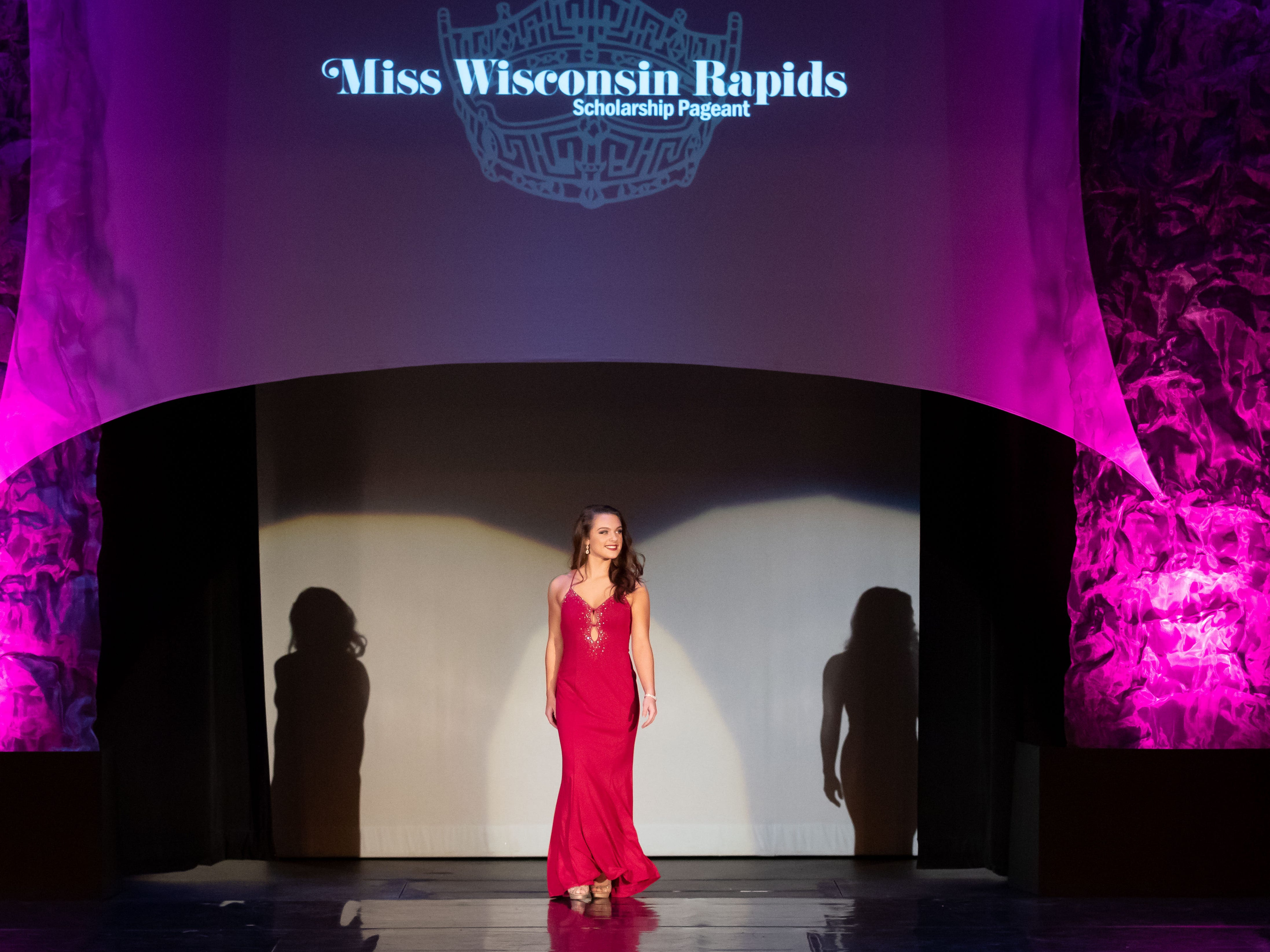 Carly Parvin competes in the Evening Wear competition during the 2019 Miss Wisconsin Rapids Area Scholarship Pageant on Saturday, Oct. 27, 2018, at the Performing Arts Center of Wisconsin Rapids.