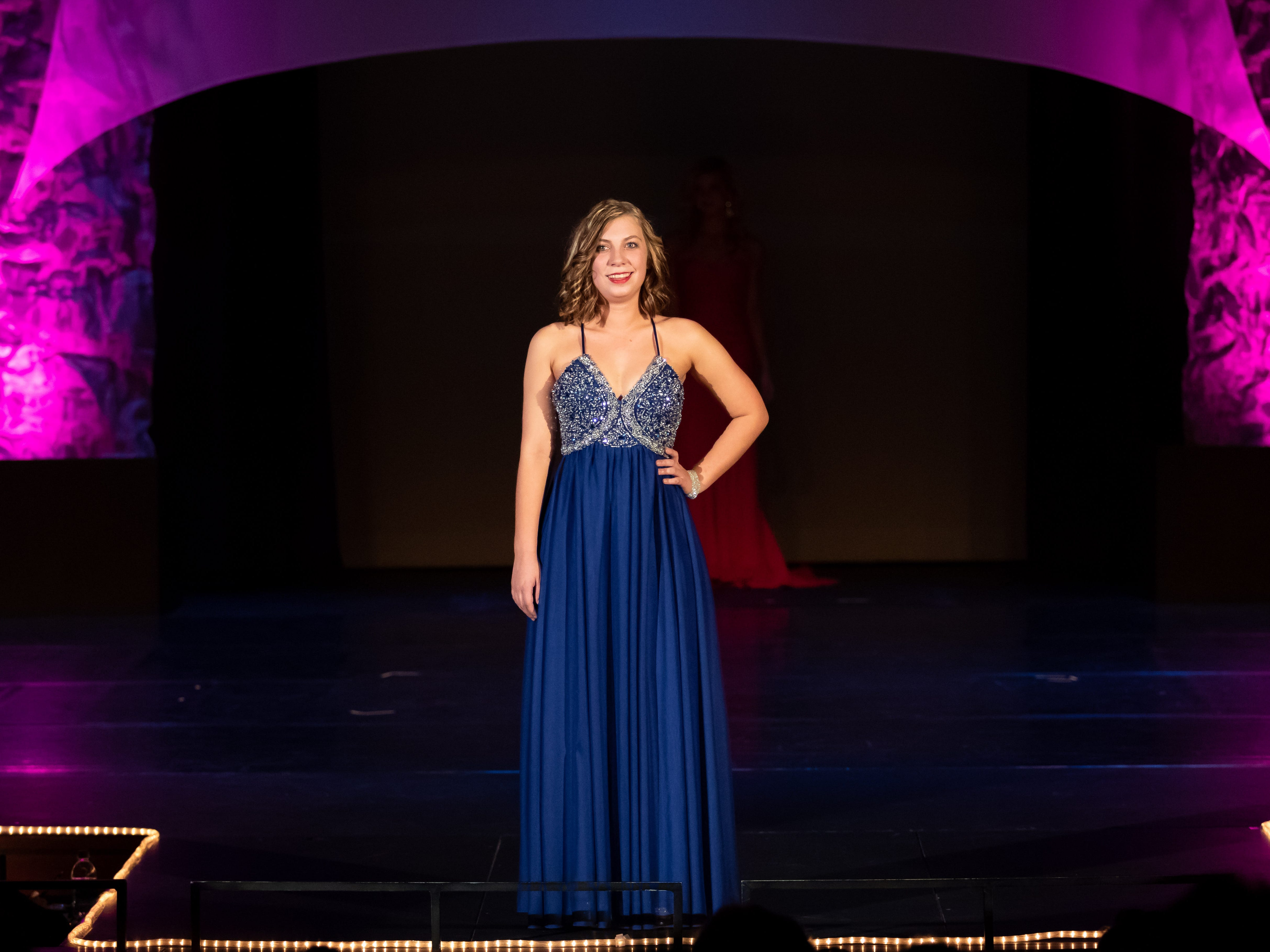 Jennifer Krakow competes in the Evening Wear competition during the 2019 Miss Wisconsin Rapids Area Scholarship Pageant on Saturday, Oct. 27, 2018, at the Performing Arts Center of Wisconsin Rapids.