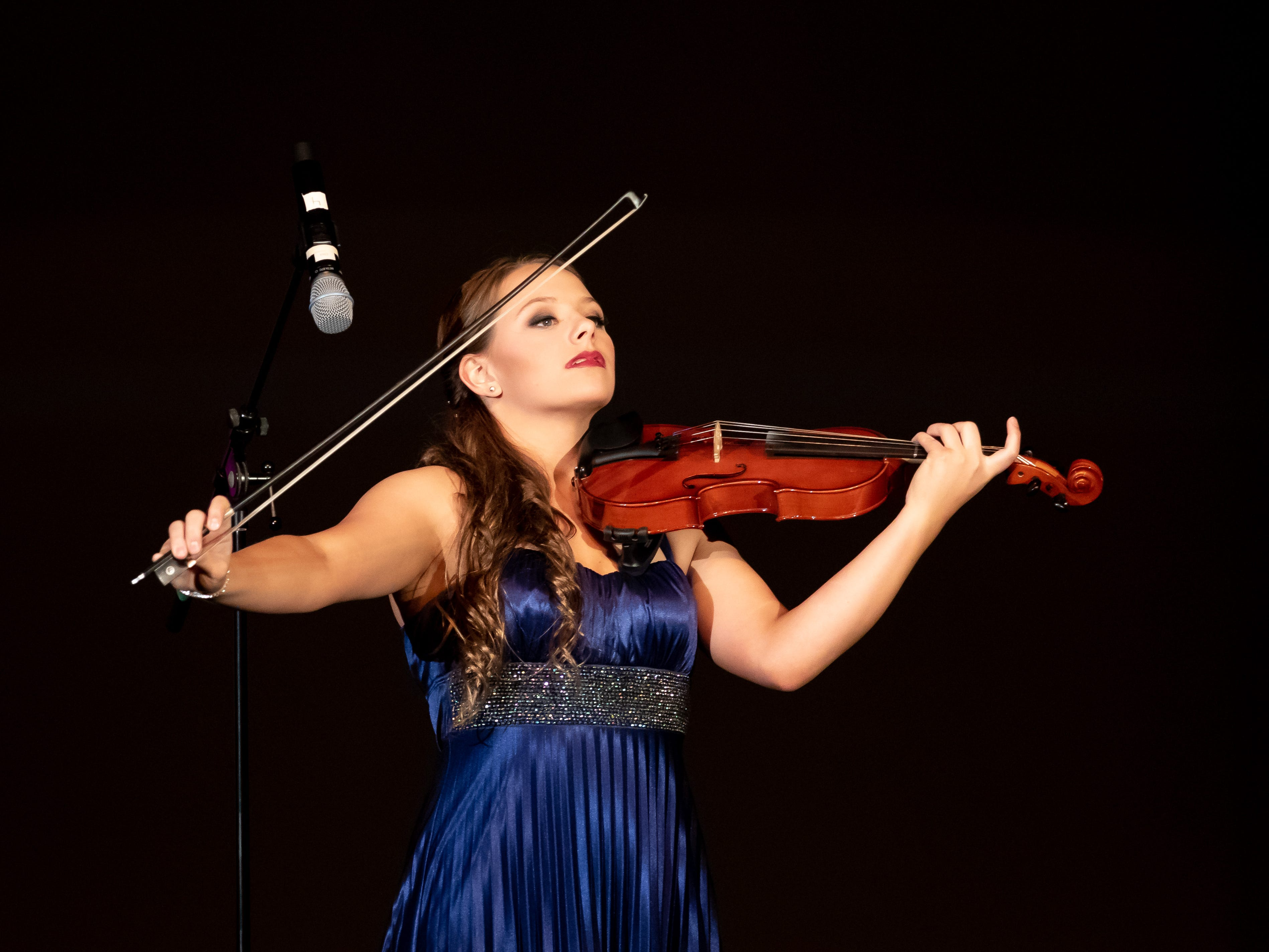 "Maggie Weiland performs ""Ashokan Farewell"" on violin in the Talent competition during the 2019 Miss Wisconsin Rapids Area Scholarship Pageant on Saturday, Oct. 27, 2018, at the Performing Arts Center of Wisconsin Rapids."