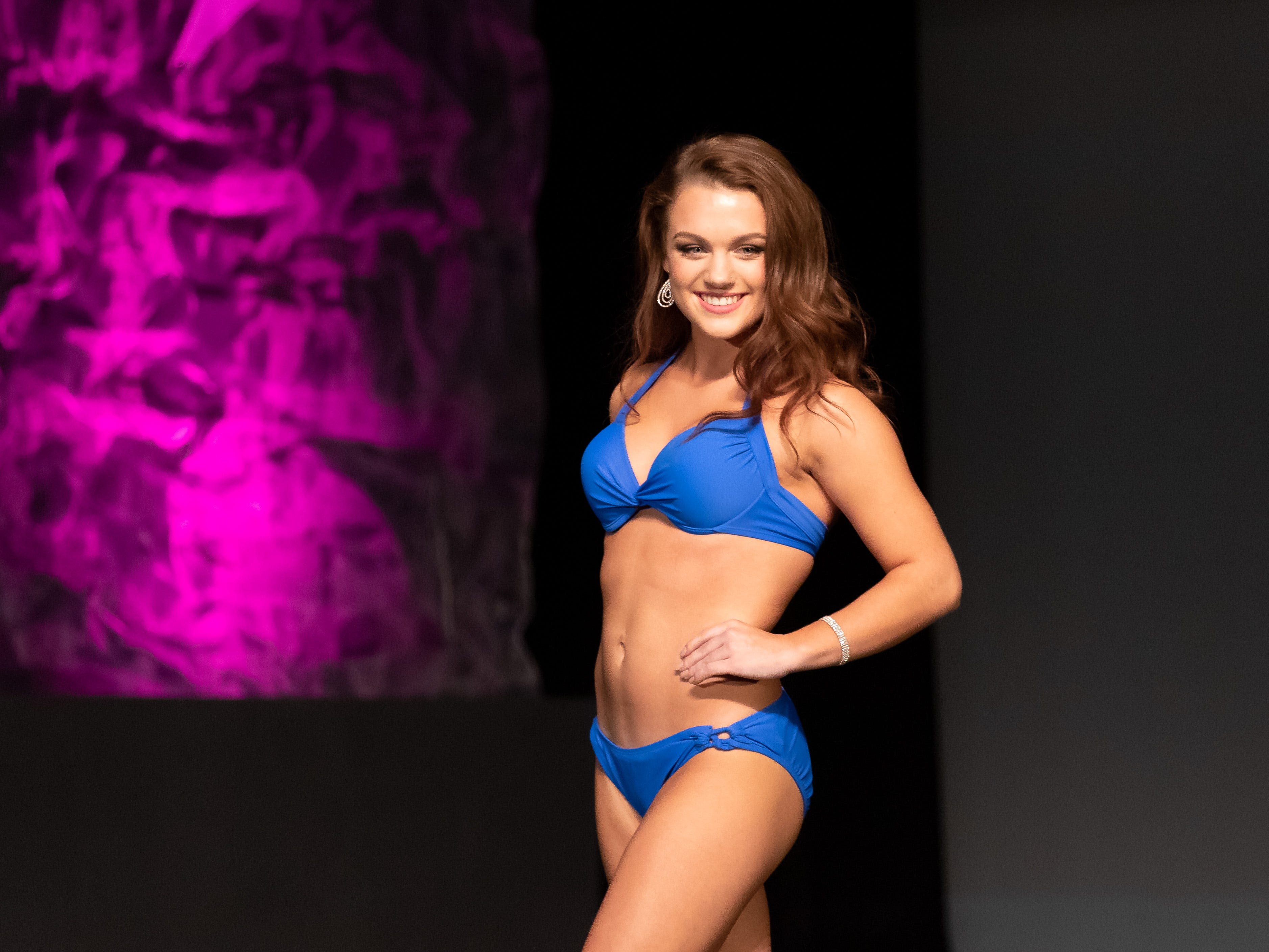 Carly Parvin competes in the Lifestyle and Fitness in a Swimsuit competition during the 2019 Miss Wisconsin Rapids Area Scholarship Pageant on Saturday, Oct. 27, 2018, at the Performing Arts Center of Wisconsin Rapids.