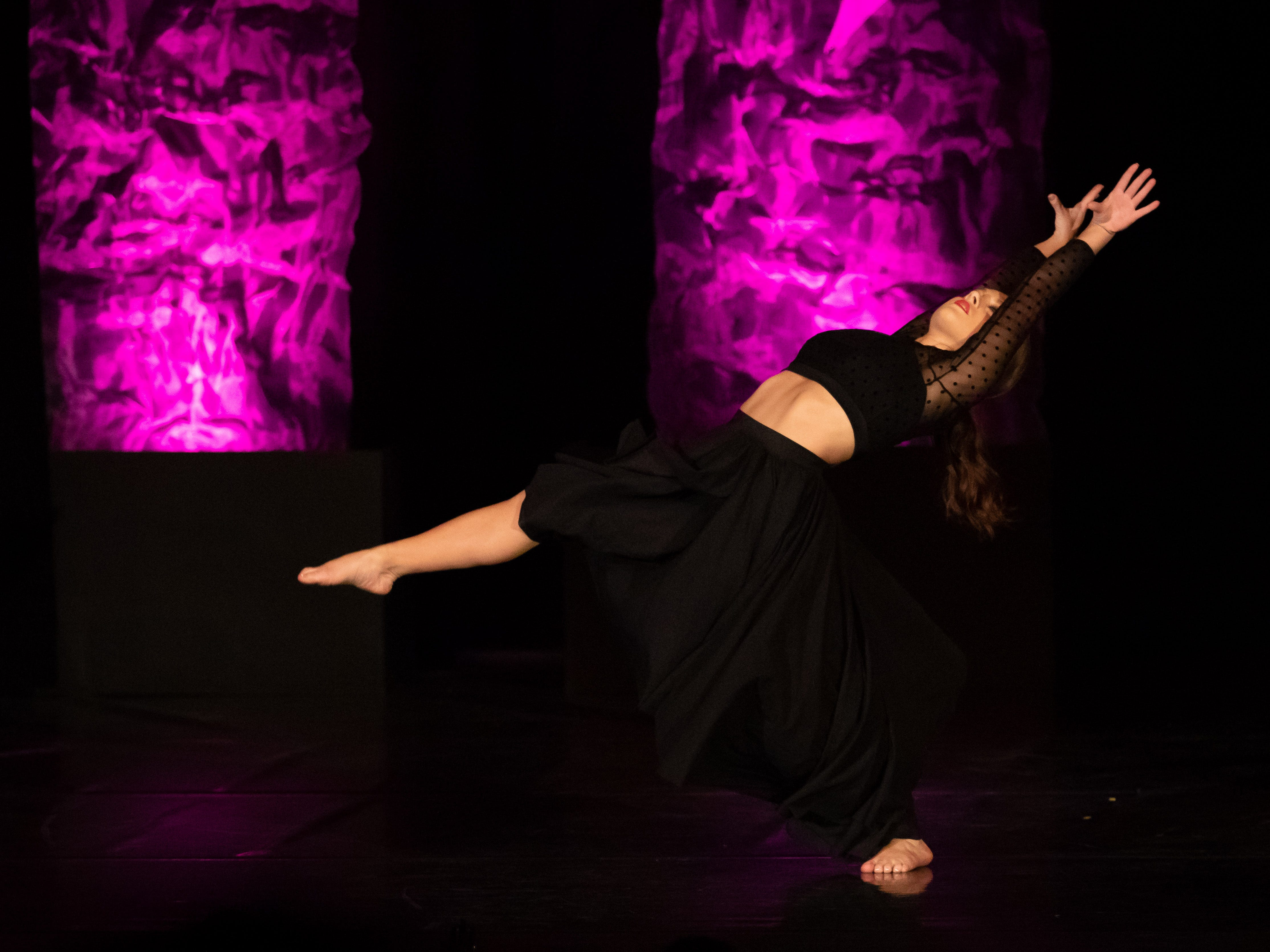 "Carly Parvin performs a lyrical dance to ""Dying in L.A."" in the Talent competition during the 2019 Miss Wisconsin Rapids Area Scholarship Pageant on Saturday, Oct. 27, 2018, at the Performing Arts Center of Wisconsin Rapids."