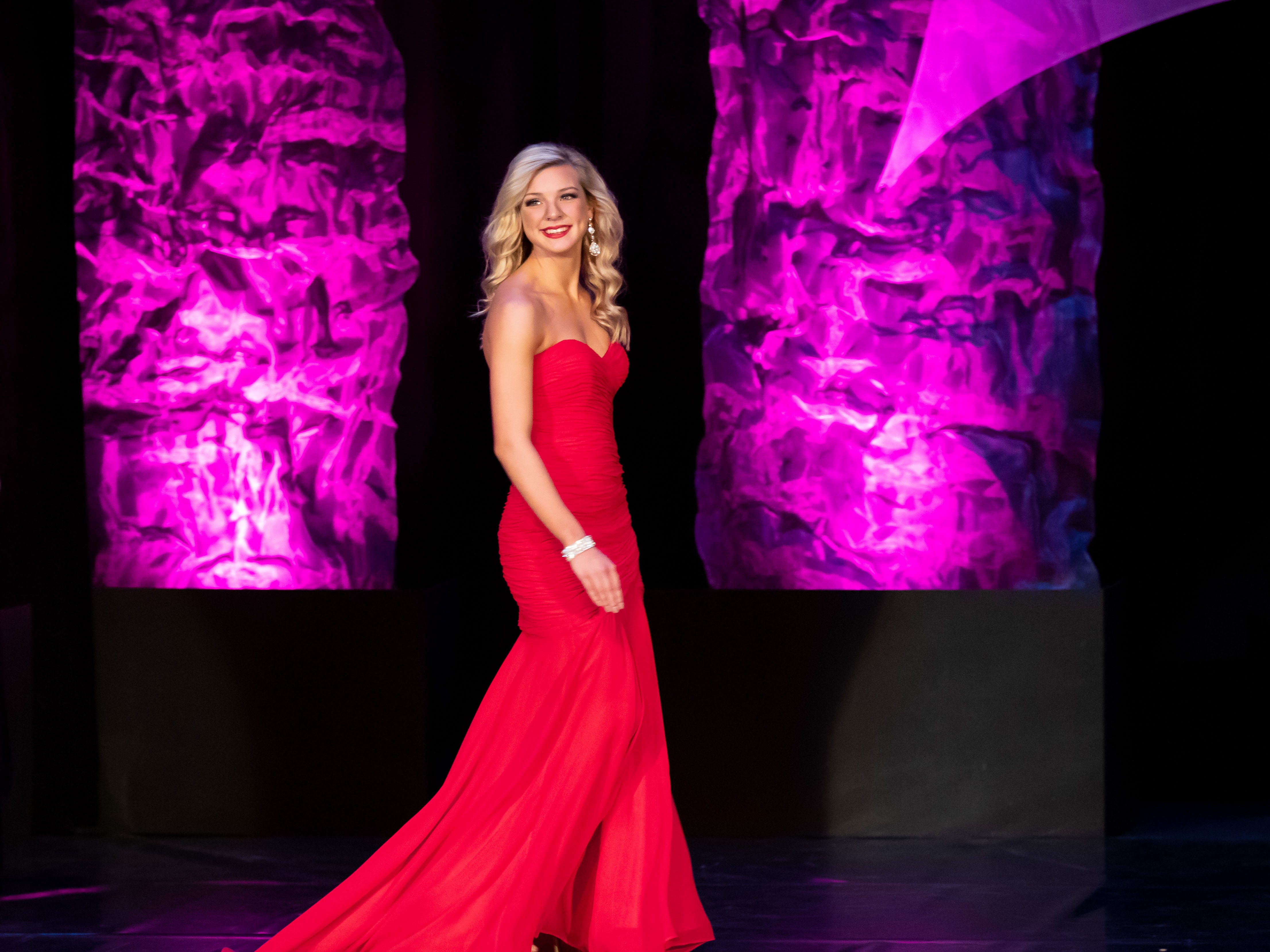 Casey Abbrederis competes in the Evening Wear competition during the 2019 Miss Wisconsin Rapids Area Scholarship Pageant on Saturday, Oct. 27, 2018, at the Performing Arts Center of Wisconsin Rapids.