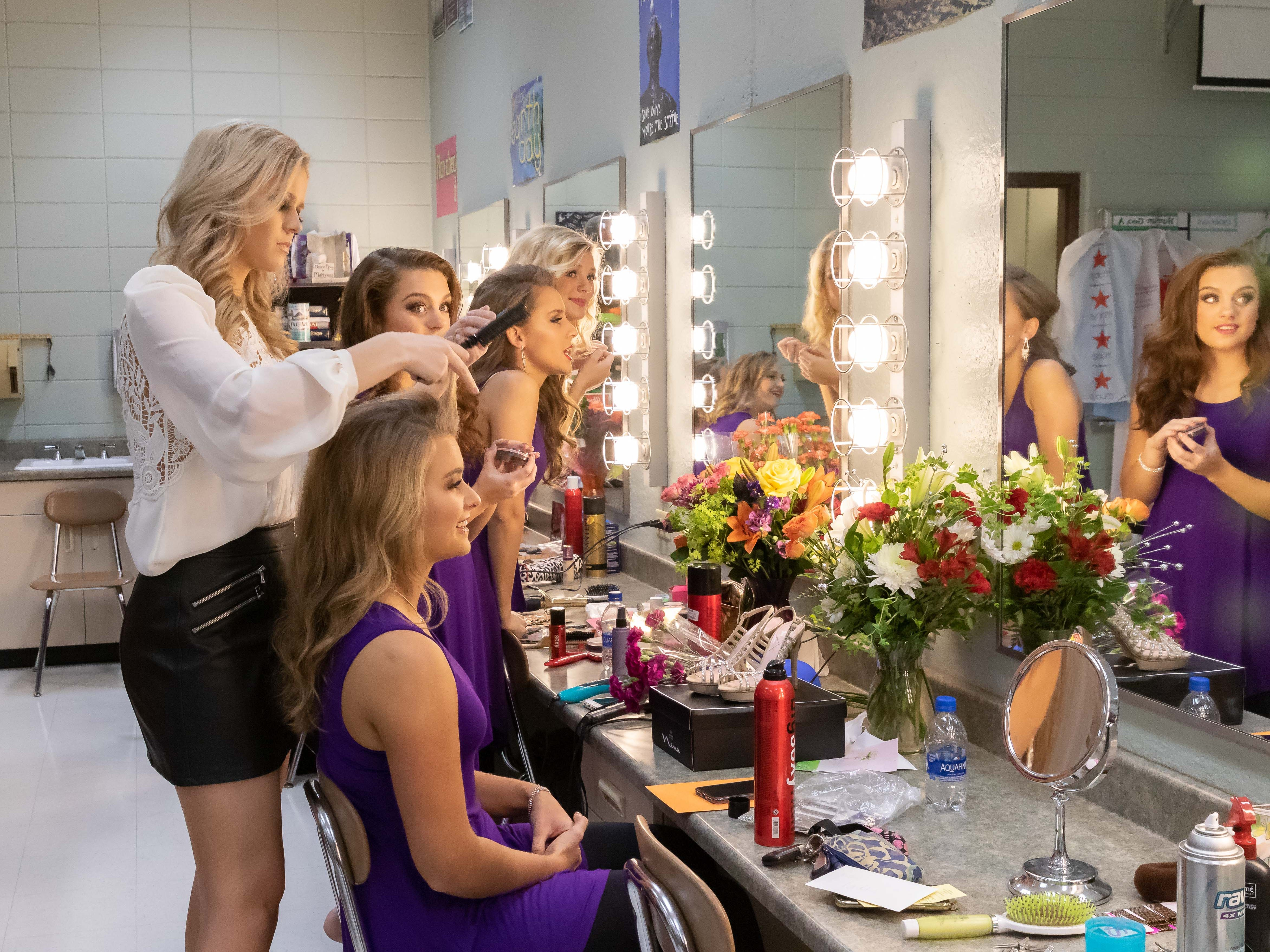 Contestants get ready for the 2019 Miss Wisconsin Rapids Area Scholarship Pageant on Saturday, Oct. 27, 2018, at the Performing Arts Center of Wisconsin Rapids.