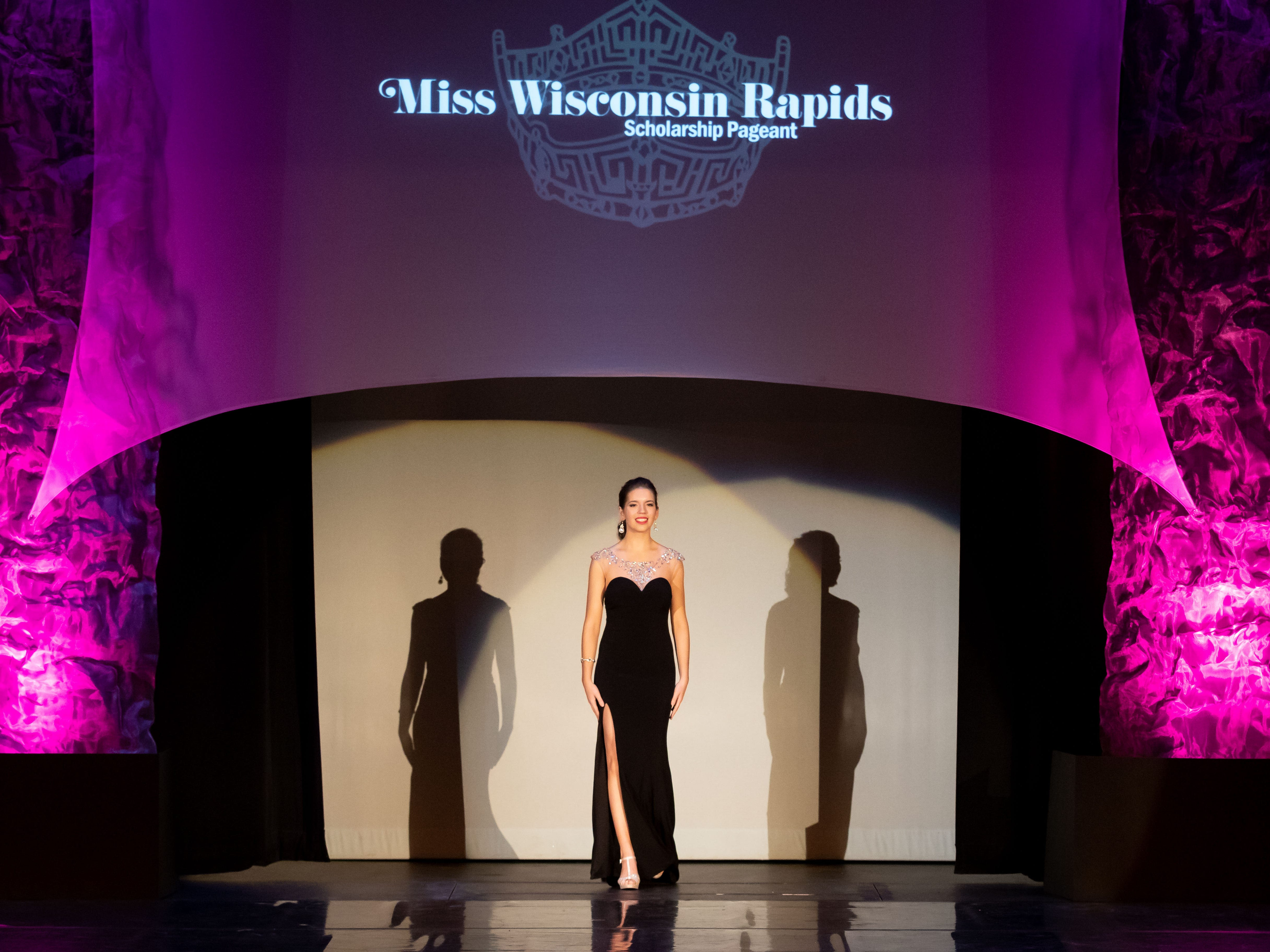 Mackenzie Mattheis competes in the Evening Wear competition during the 2019 Miss Wisconsin Rapids Area Scholarship Pageant on Saturday, Oct. 27, 2018, at the Performing Arts Center of Wisconsin Rapids.