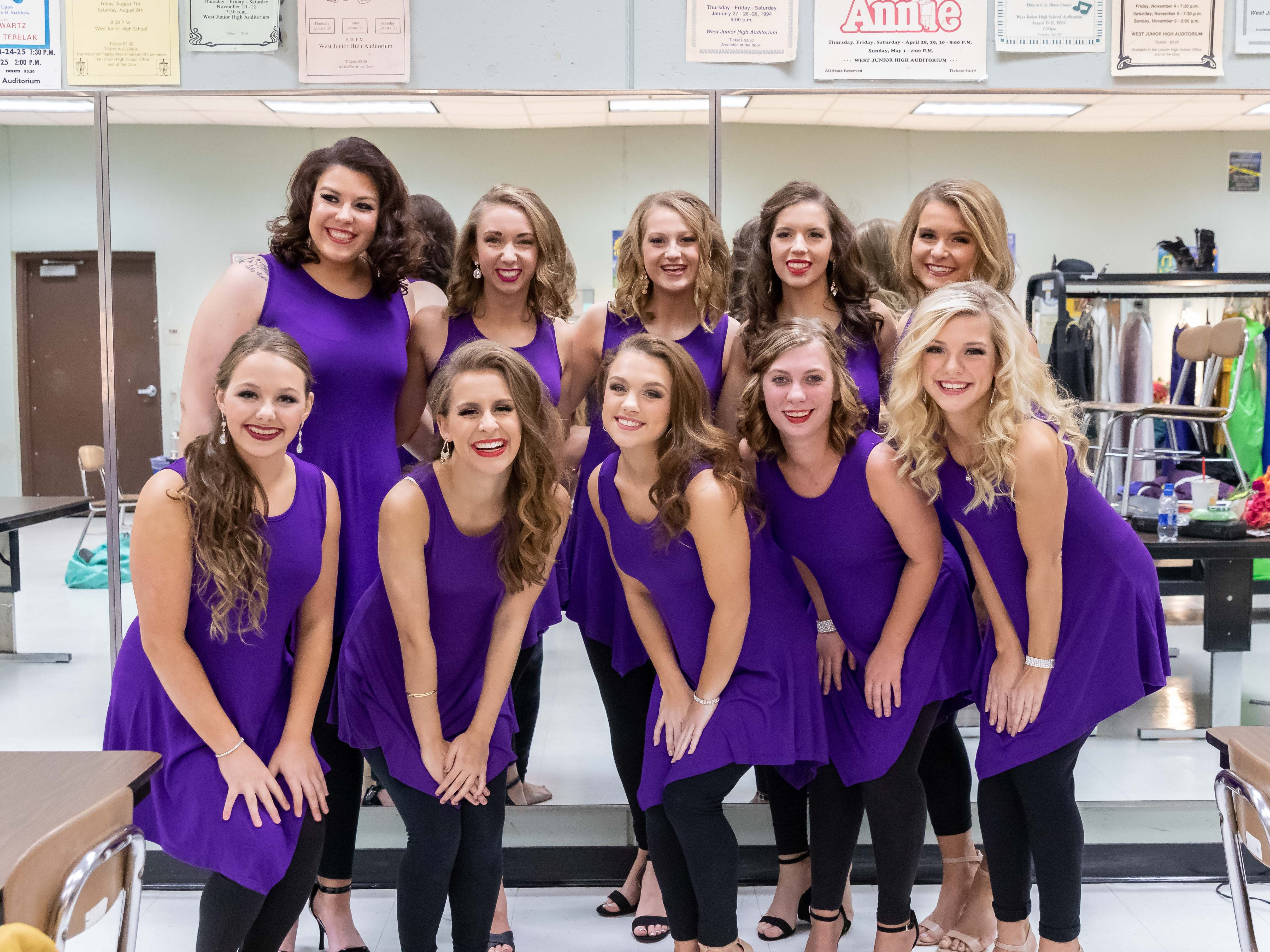 The 2019 Miss Wisconsin Rapids Area Scholarship Pageant contestants pose for a photo before the annual pageant Saturday, Oct. 27, 2018, at the Performing Arts Center of Wisconsin Rapids. Pictured are Maggie Weiland, front row from left, Corryn Tetzlaff, Carly Parvin, Jennifer Krakow, Casey Abbrederis; Brooke Doescher, back row from left, Danielle Moon, Kate Czarny, Mackenzie Mattheis and Ellie Schuerman.
