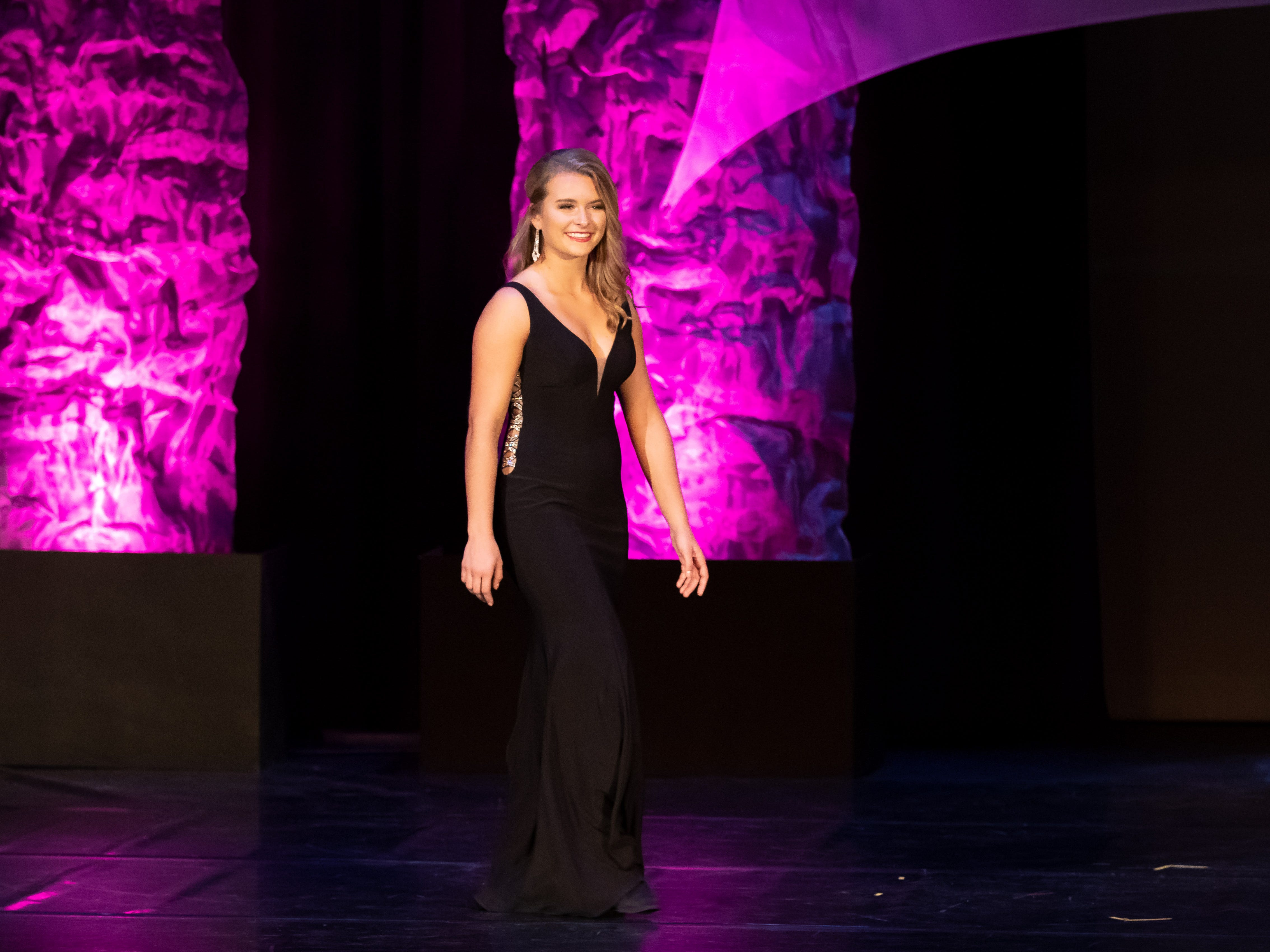 Ellie Schuerman competes in the Evening Wear competition during the 2019 Miss Wisconsin Rapids Area Scholarship Pageant on Saturday, Oct. 27, 2018, at the Performing Arts Center of Wisconsin Rapids.