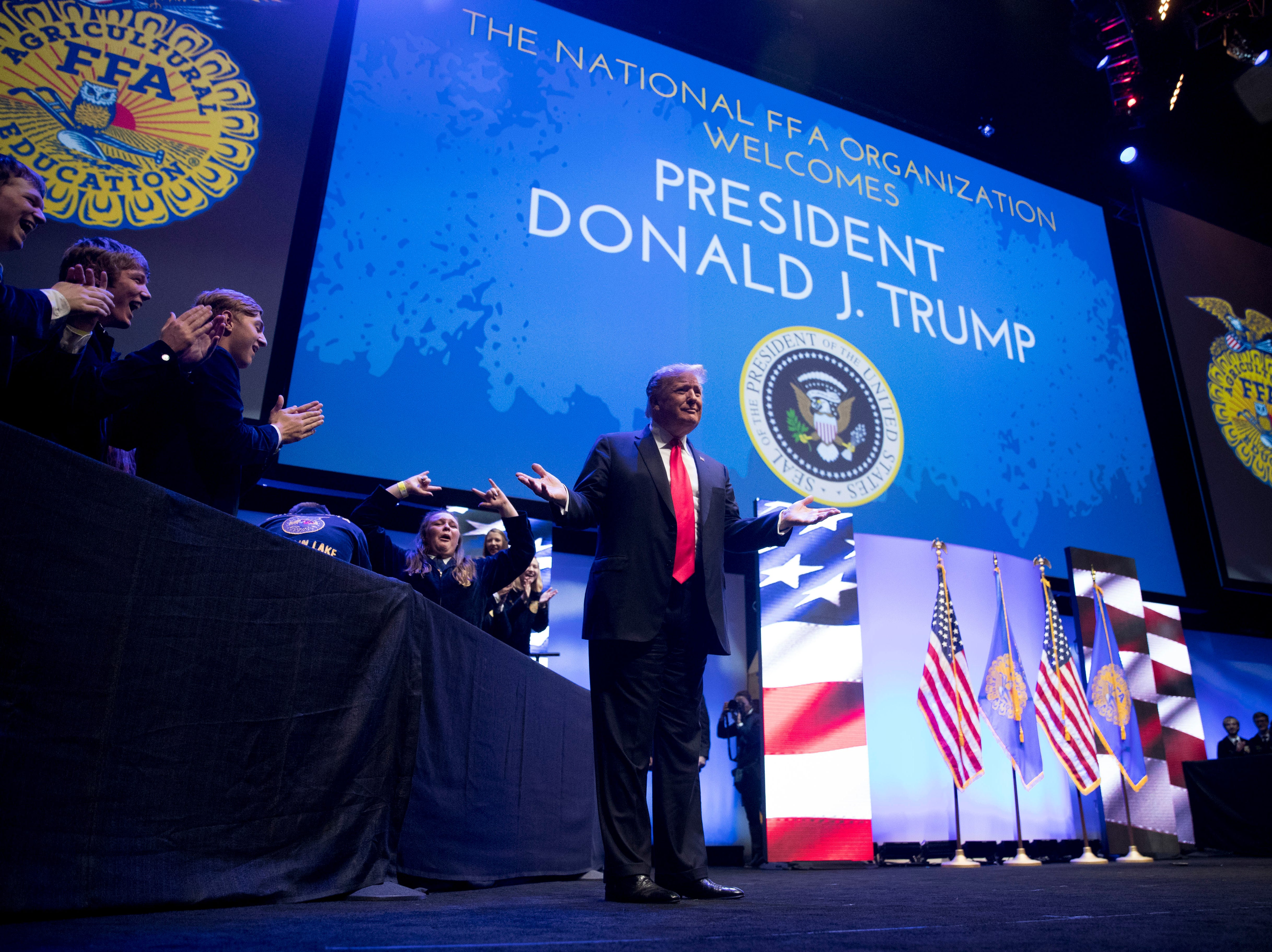 President Donald Trump arrives to speak at the 91st Annual Future Farmers of America Convention and Expo at Bankers Life Fieldhouse in Indianapolis, Saturday, Oct. 27, 2018.