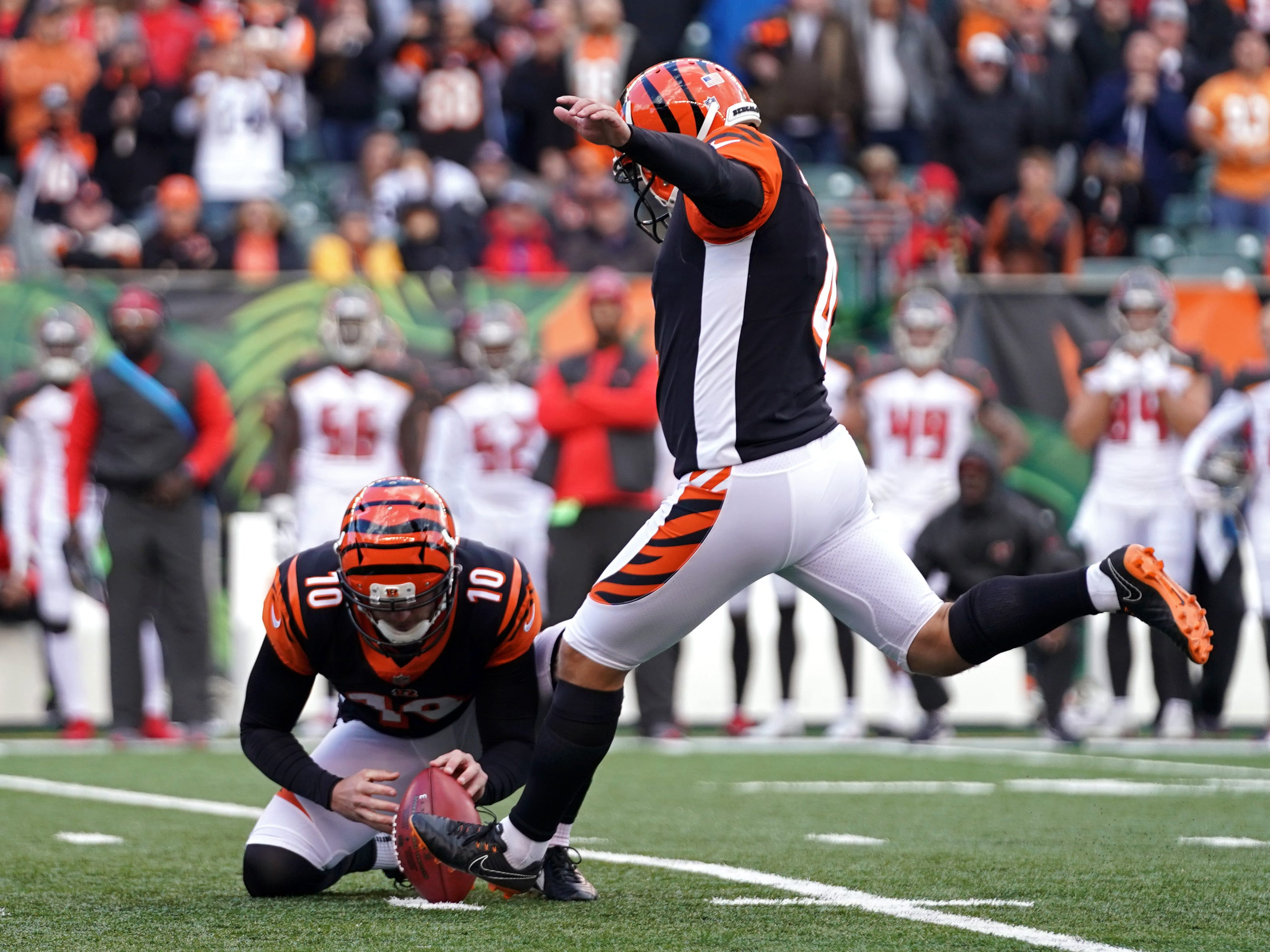 Randy Bullock (4) kicks the game- winning field goal to lead the Cincinnati Bengals past the Tampa Bay Buccaneers at Paul Brown Stadium.
