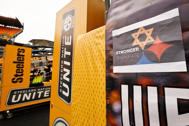 Pittsburgh Steelers logo with Star of David at game between the Steelers and the Cleveland Browns, Oct. 28, 2018, Pittsburgh.