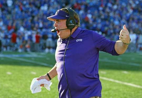 TCU head coach Gary Patterson during the Horned Frogs' 27-26 loss to Kansas in Lawrence.
