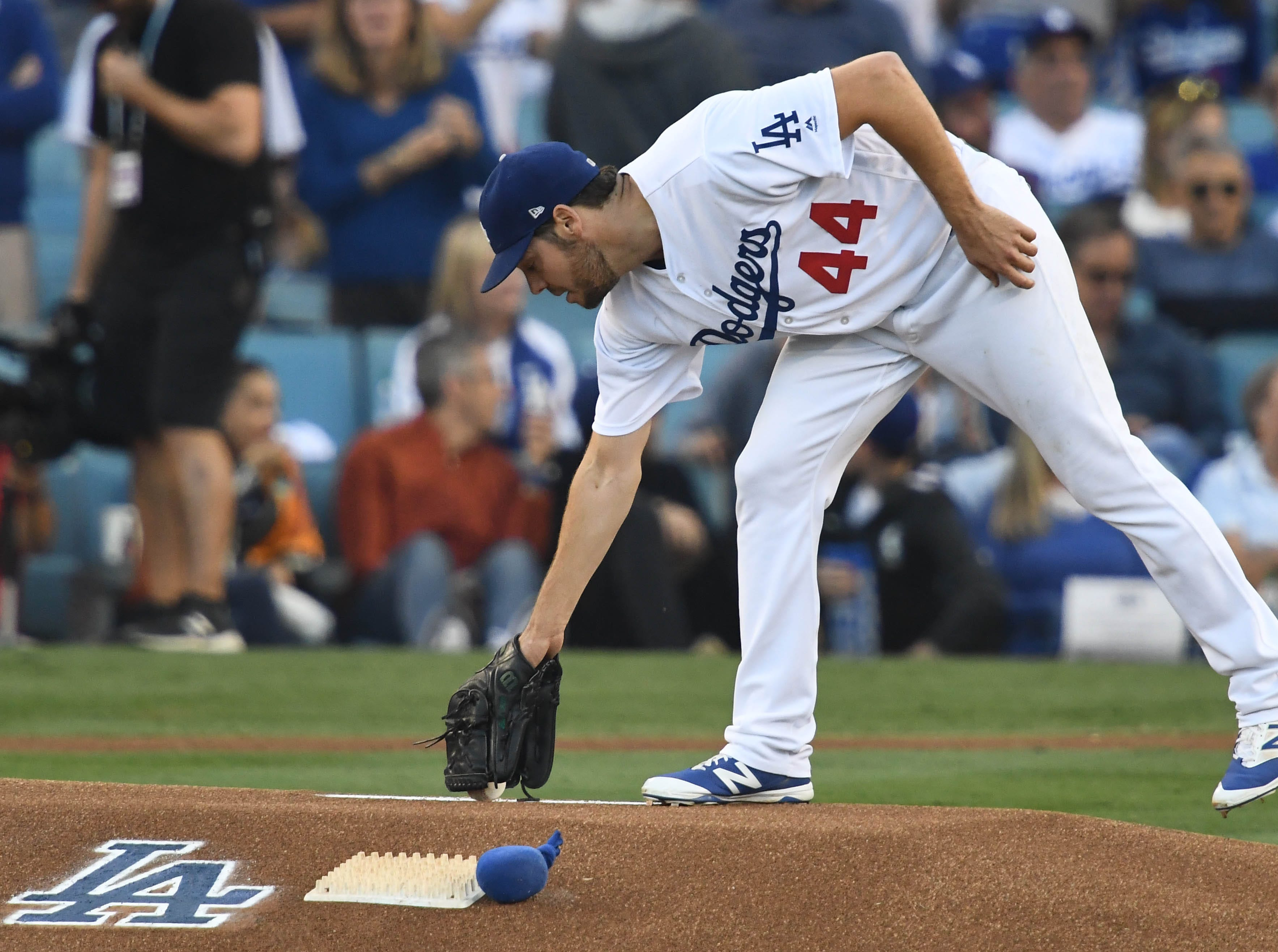 Game 4 at Dodger Stadium: Rich HIll takes the mound in the first inning.
