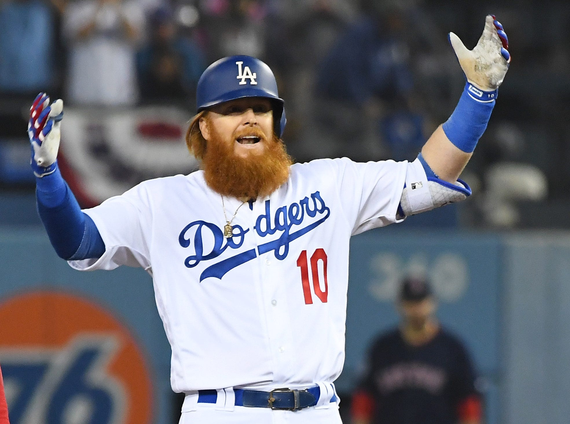 Game 4 at Dodger Stadium: Justin Turner reacts after doubling in the sixth.