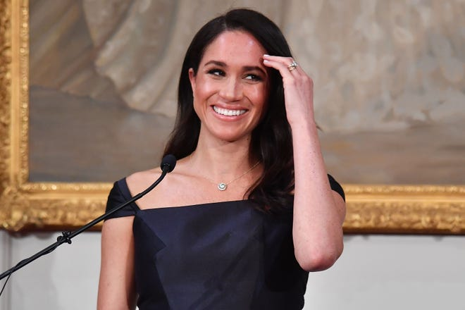 Duchess Meghan speaks to invited guests during a reception at Government House on Oct. 28, 2018, in Wellington, New Zealand.