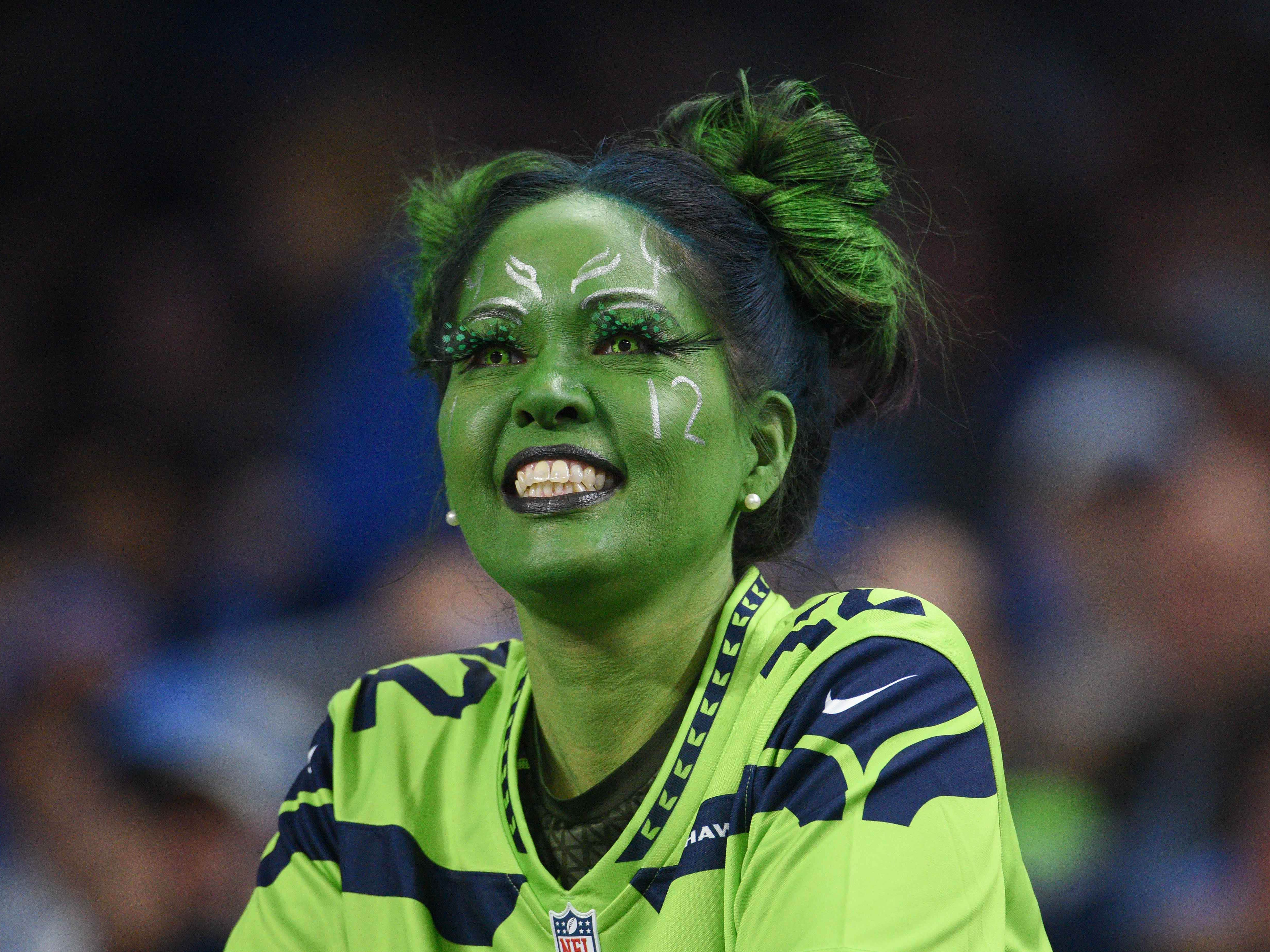 A Seattle Seahawks fan looks on during the game against the Detroit Lions at Ford Field.