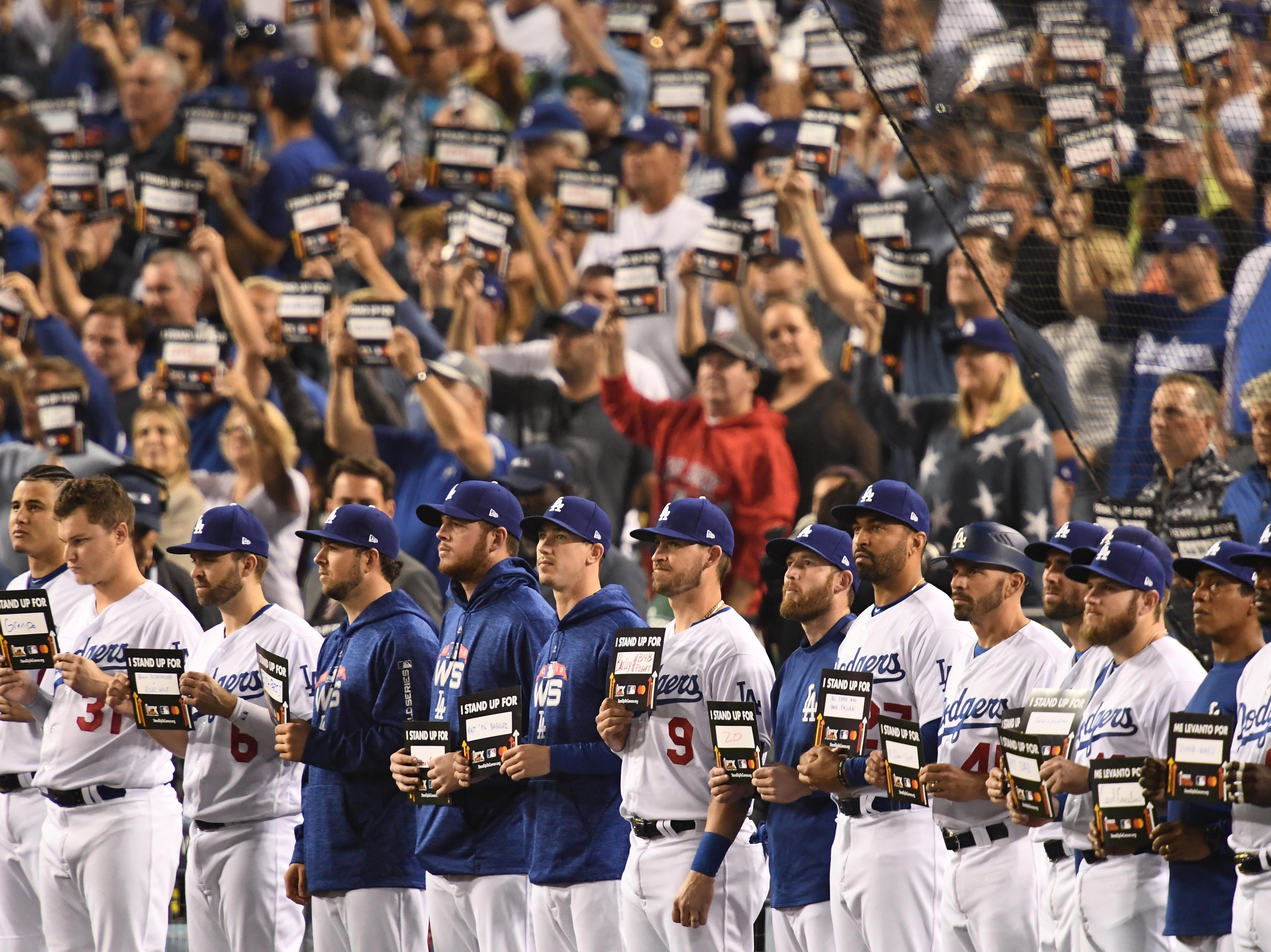 "Game 4 at Dodger Stadium: Dodgers players participate in ""Stand Up To Cancer."""