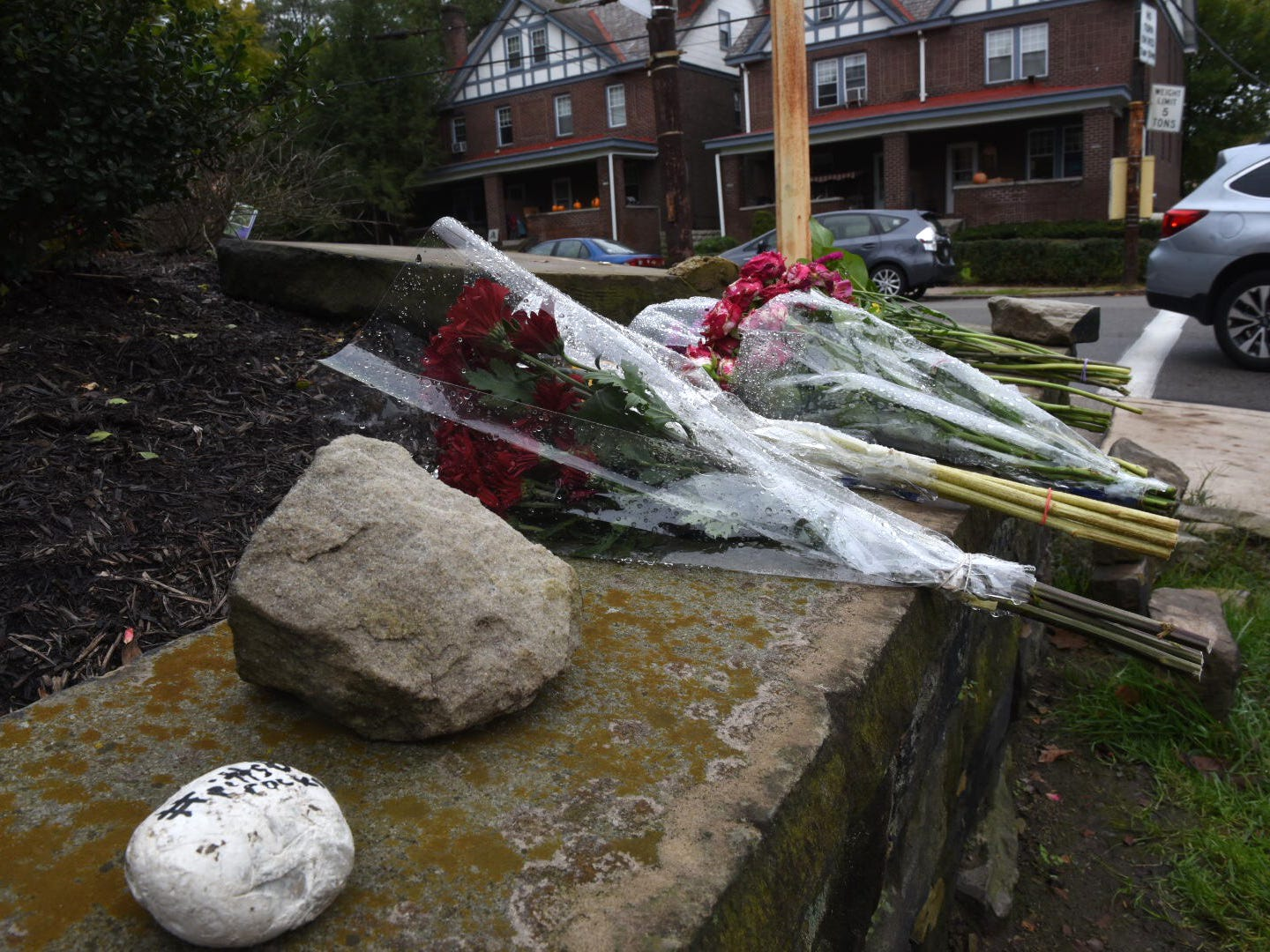 A makeshift memorial is seen down the street from Tree of Life Synagogue in the Squirrel Hill neighborhood of Pittsburgh, Sunday, Oct. 28, 2018.