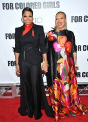 Janet Jackson, left, and author Ntozake Shange attend a New York screening of 'For Colored Girls' in 2010.