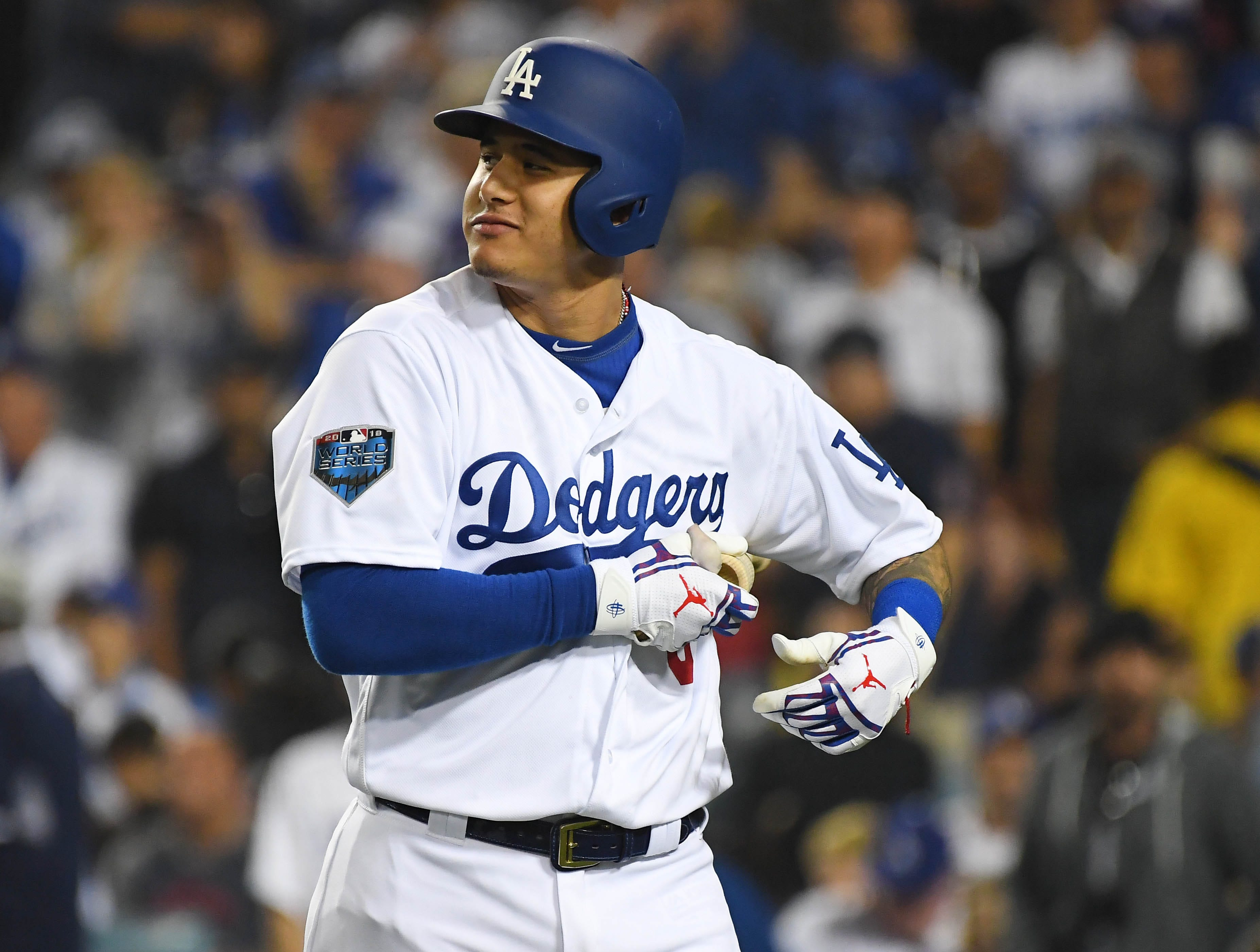 Game 4 at Dodger Stadium: Manny Machado reacts after striking out in the fourth inning.