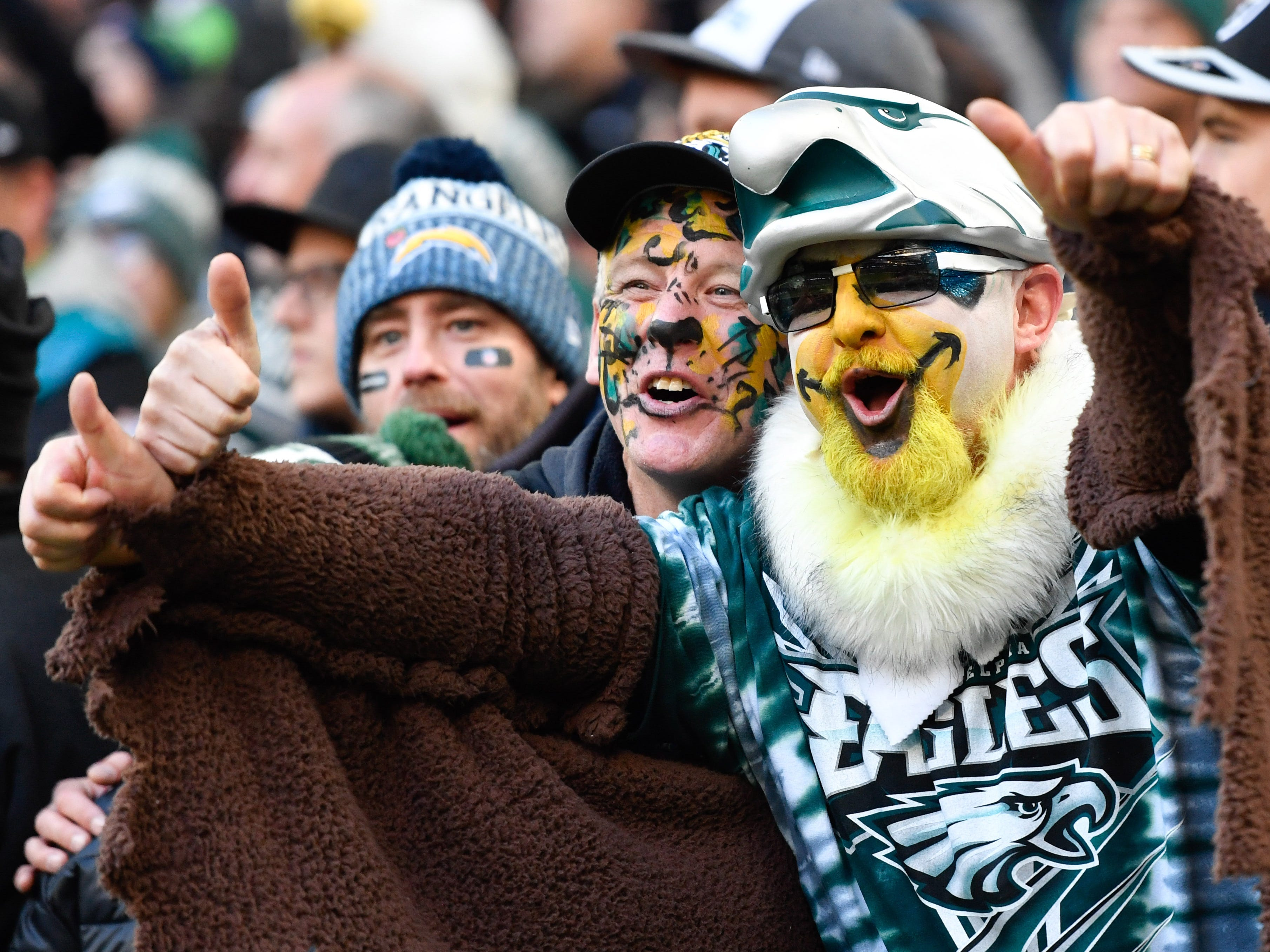 Philadelphia Eagles fans react during the second half of an NFL International Series game against the Jacksonville Jaguars at Wembley Stadium.