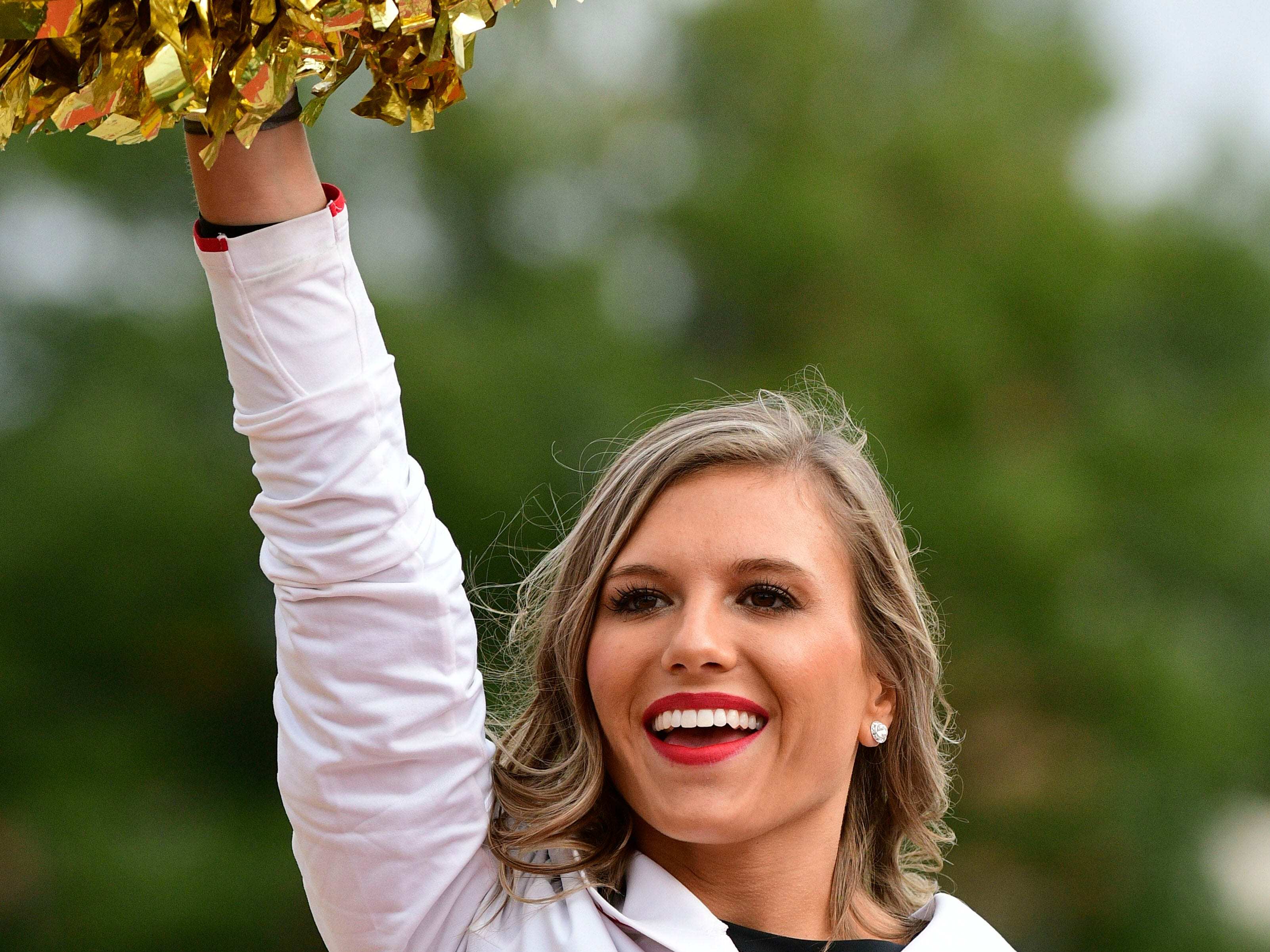 Week 9: A Maryland Terrapins cheerleader preforms before the game against the Illinois Fighting Illini at Capital One Field at Maryland Stadium.
