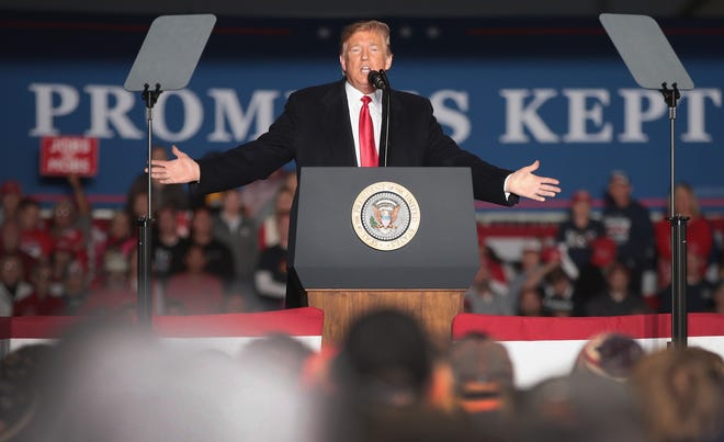President Donald Trump speaks to supporters during a rally at the Southern Illinois Airport on Oct. 27, in Murphysboro, Illinois.