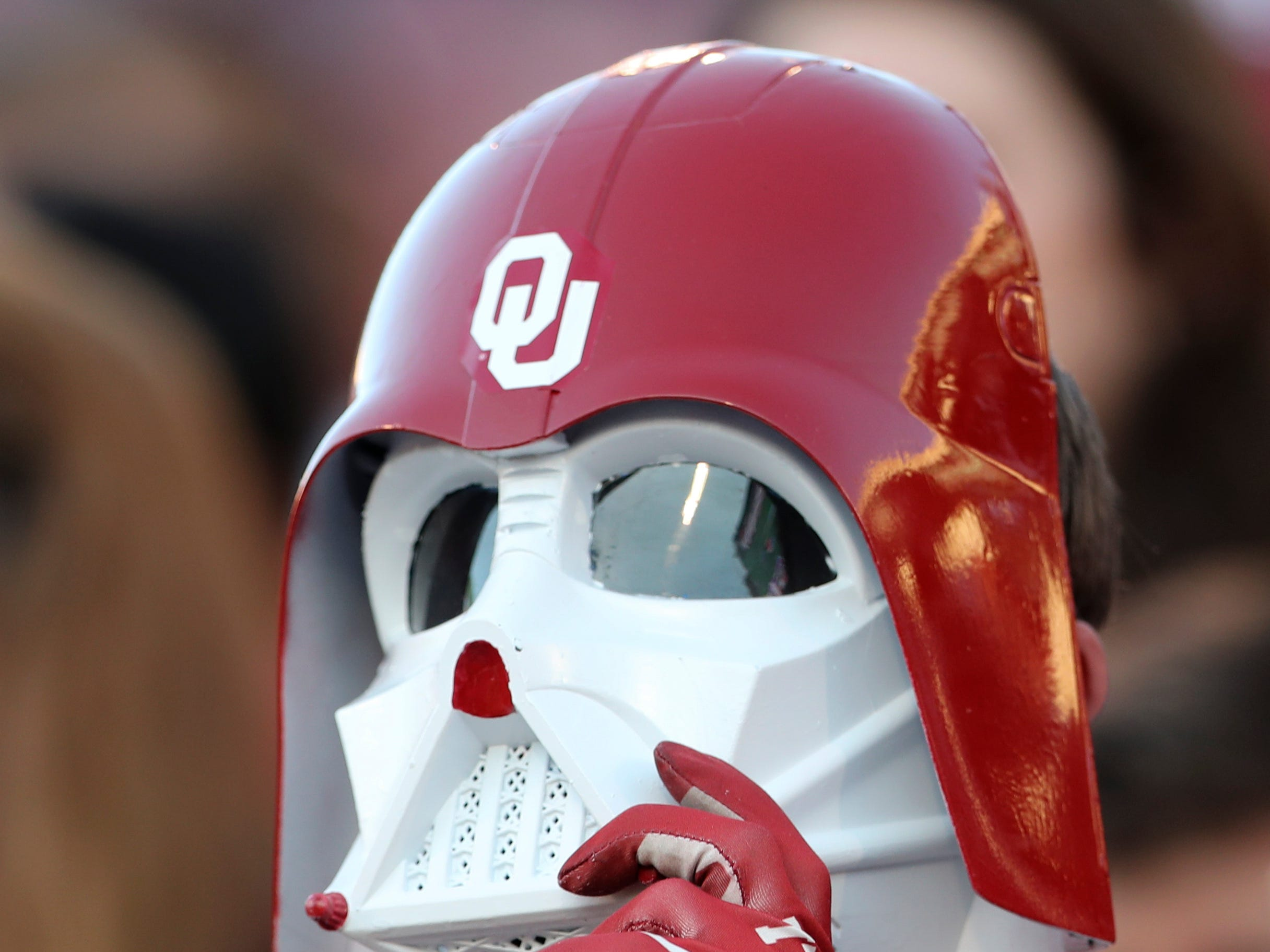 Week 9: An Oklahoma Sooners fan dressed in a Darth Vader mask watches the game against the Kansas State Wildcats at Gaylord Family - Oklahoma Memorial Stadium.