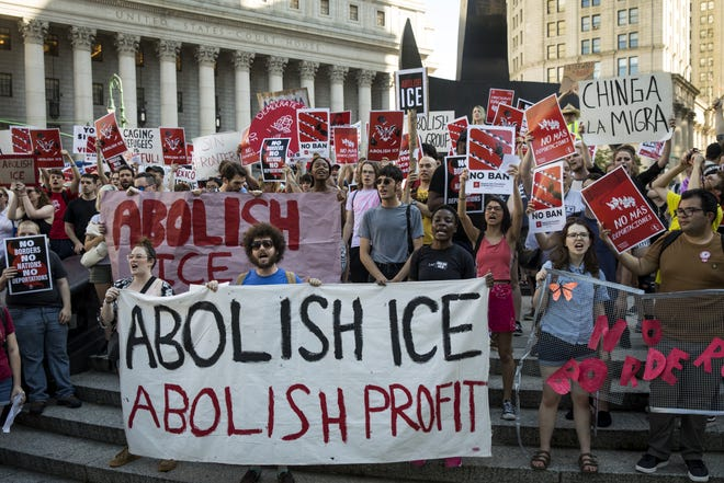 Rally against Immigration and Customs Enforcement (ICE) and the Trump administration's immigration policies organized by the Democratic Socialists of America in New York City on June 29, 2018 in New York City.