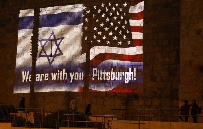 Projected on the walls of Jerusalem's Old City on Oct. 28, 2018.
