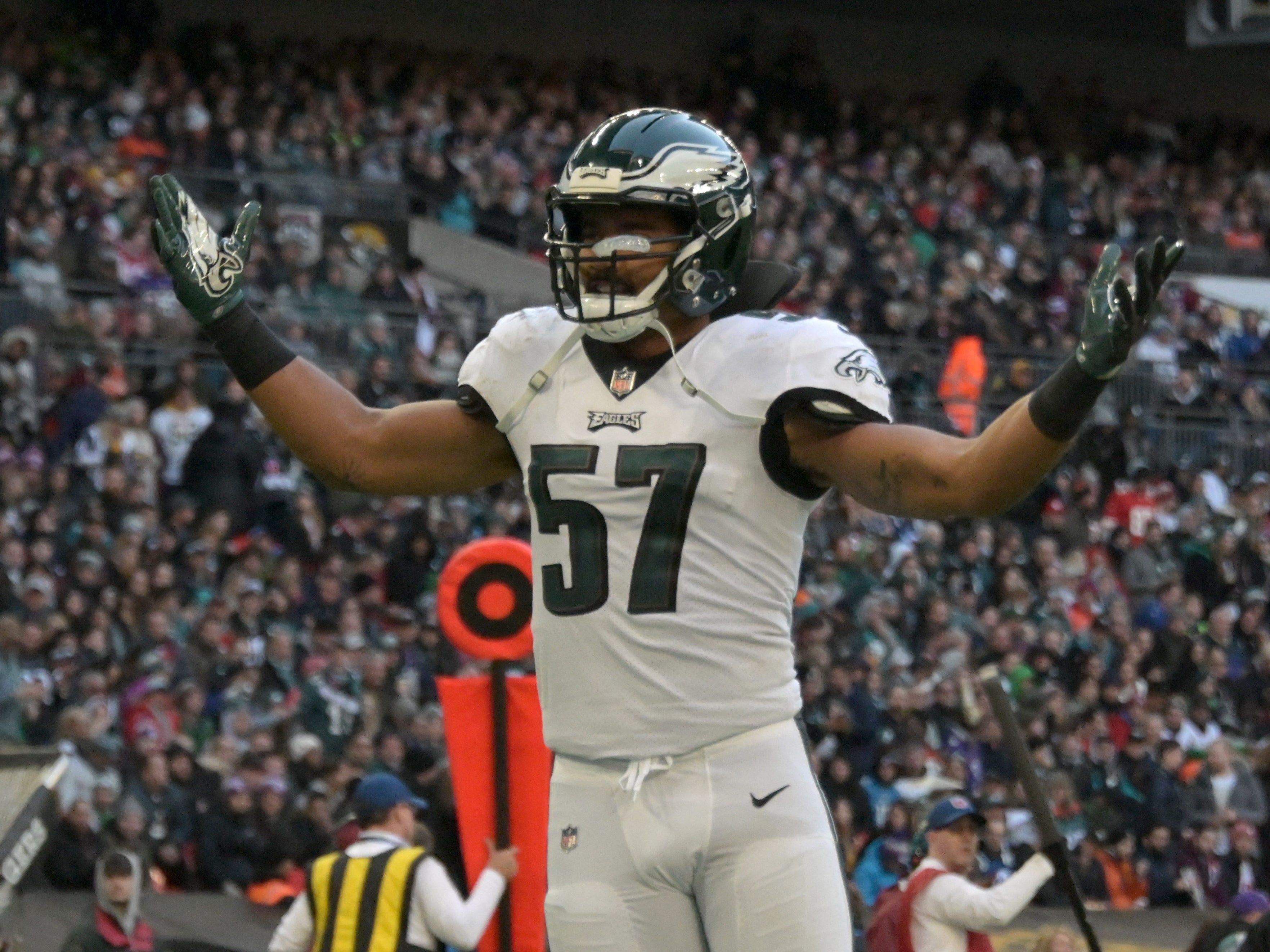 Linebacker D.J. Alexander (57) celebrates during the Philadelphia Eagles' victory against the Jacksonville Jaguars at Wembley Stadium.
