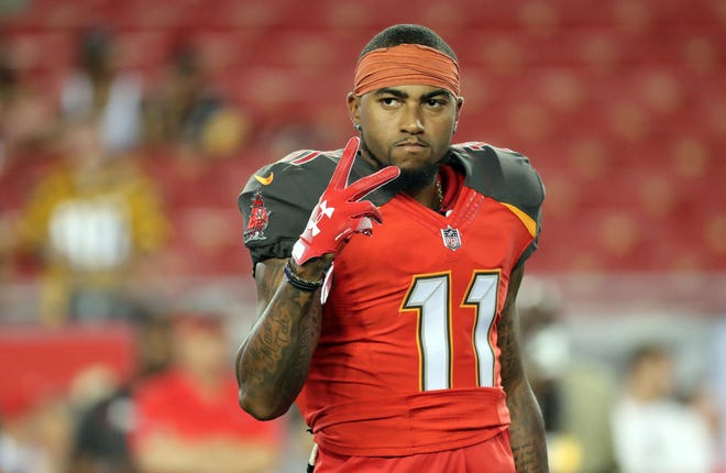 Tampa Bay Buccaneers wide receiver DeSean Jackson (11) works out prior to the game at Raymond James Stadium.