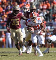Clemson running back Darien Rencher (21) carries against Florida State during the 4th quarter at Florida State's Doak Campbell Stadium in Tallahassee, Fl, Saturday, October 27, 2018