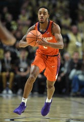 Clemson guard Marcquise Reed (2) plays against Wake Forest during the 1st half at Lawrence Joel Veterans Memorial Coliseum in Winston Salem, N.C. on Saturday, February 3, 2018.