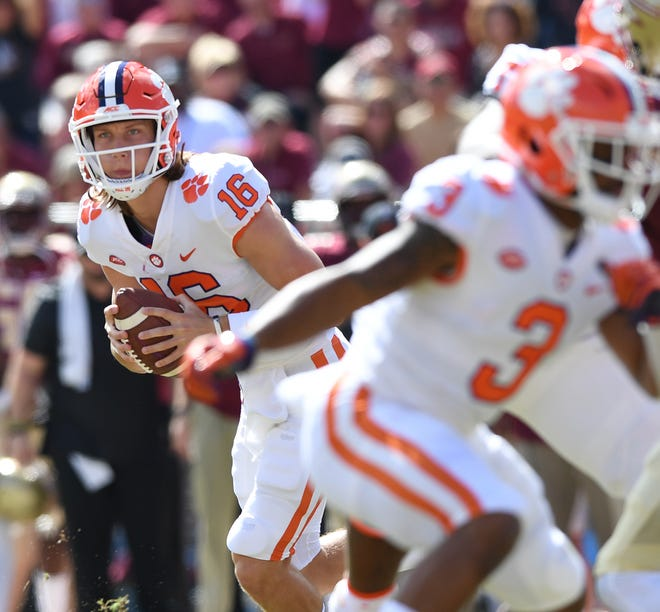 Clemson quarterback Trevor Lawrence (16) plays against Florida State during the 2nd quarter Saturday, October 27, 2018 at Florida State's Doak Campbell Stadium in Tallahassee, Fl.