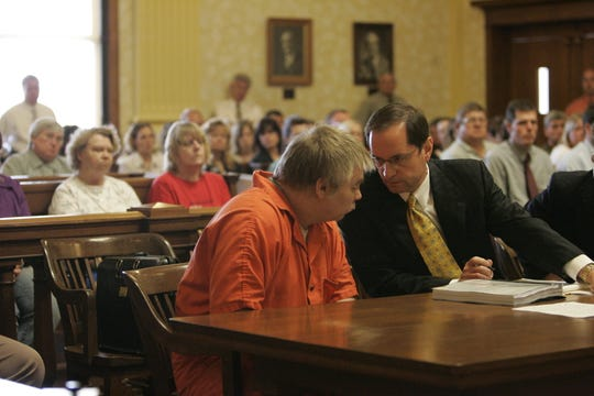 Steven Avery, left, with Jerome Buting at his sentencing on June 1, 2007, at the Manitowoc County Courthouse in Manitowoc.